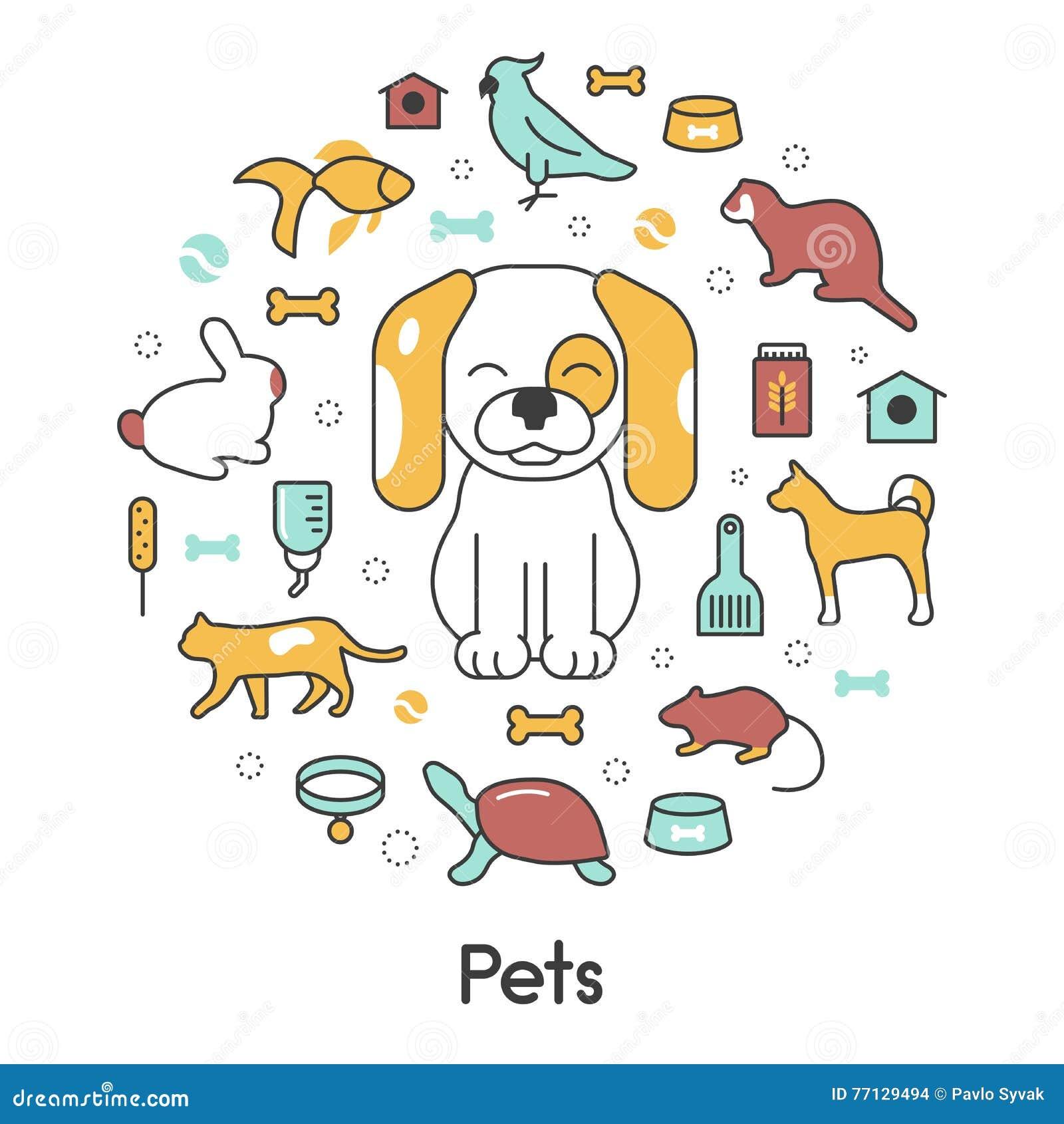 Pets Dog, Cat, Parrot, Rabbit Logo Cartoon Vector