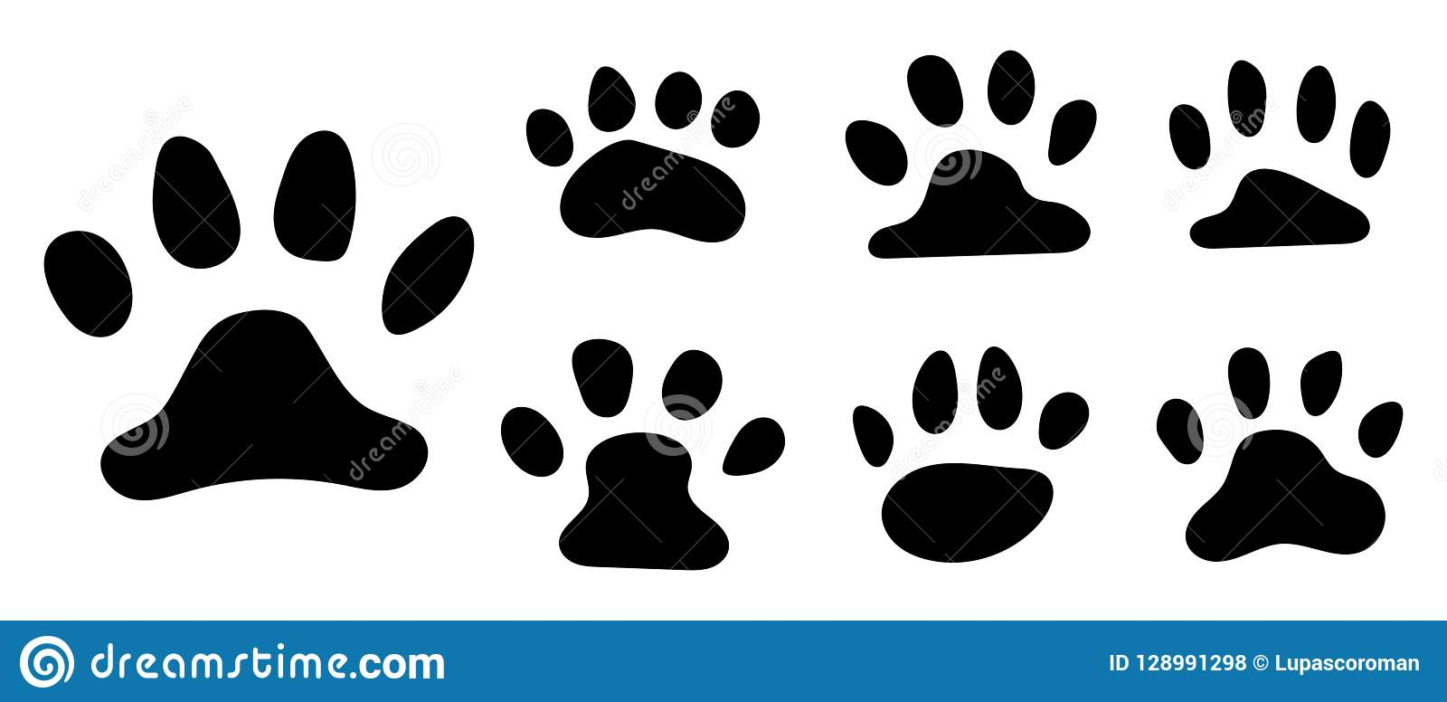 Pets paw footprint. Cat paws prints, kitten foots or dog foot print. Pet rescue logo puppy footprint marks animal shape
