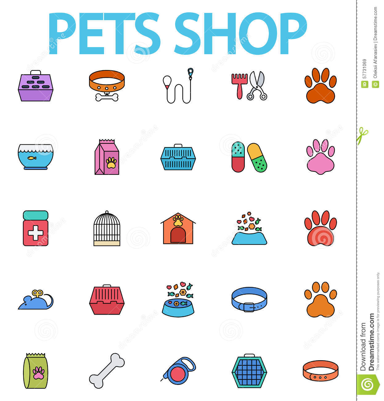 pets shop icons stock vector   image 57731069