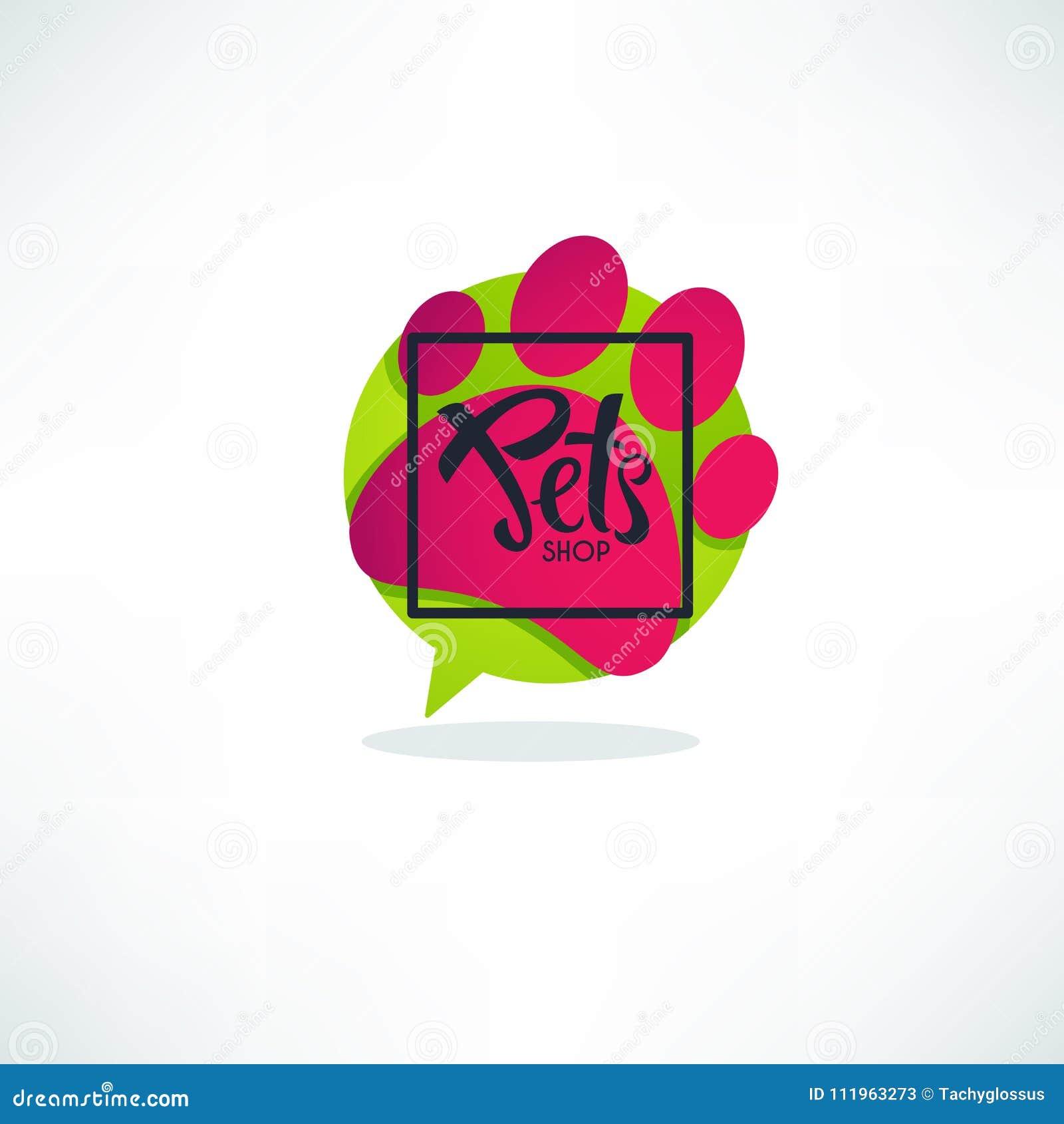 Cat Grooming Pet Shop Logo Template: Pets Shop Logo , Vector Image Of Vibrnt Green Speech Bubble