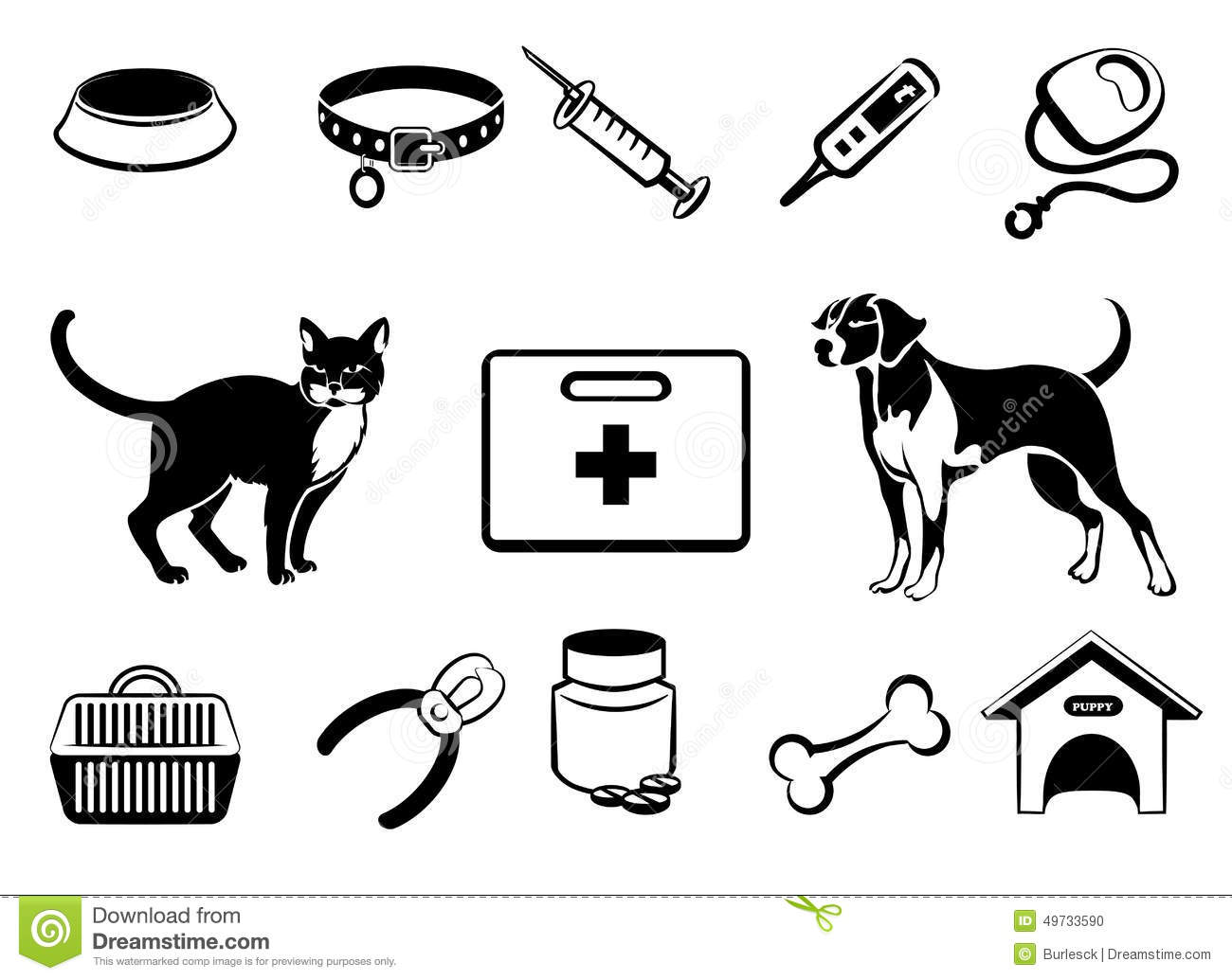 Pets Icons, Vet Clinic Icons And Veterinary Medicine Stock Vector ...