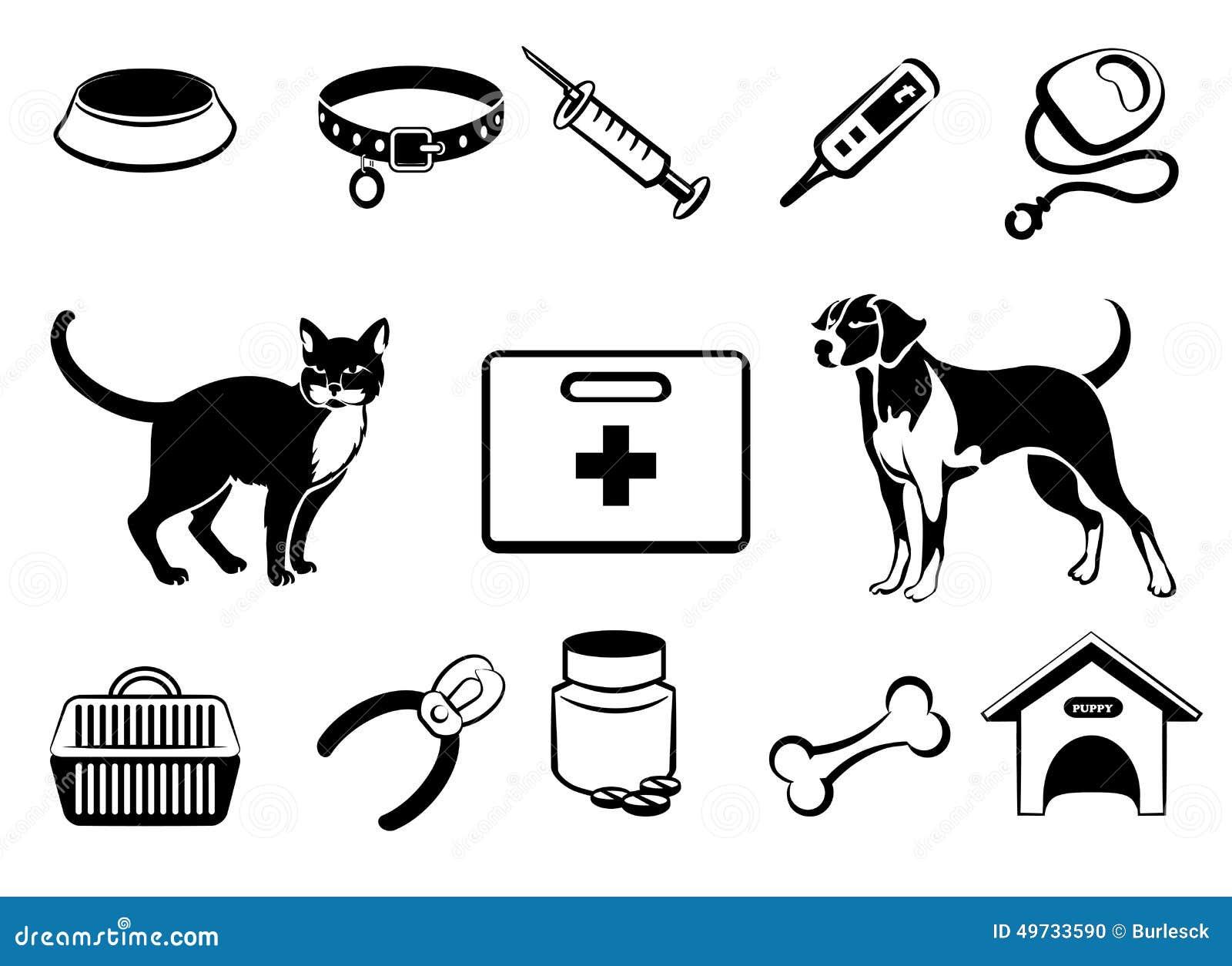 Pets Veterinary Medicine Icons Stock Vector - Image: 49733590