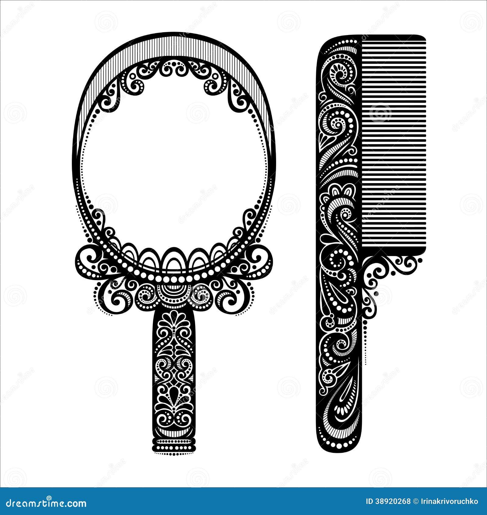 Pettine decorato con lo specchio