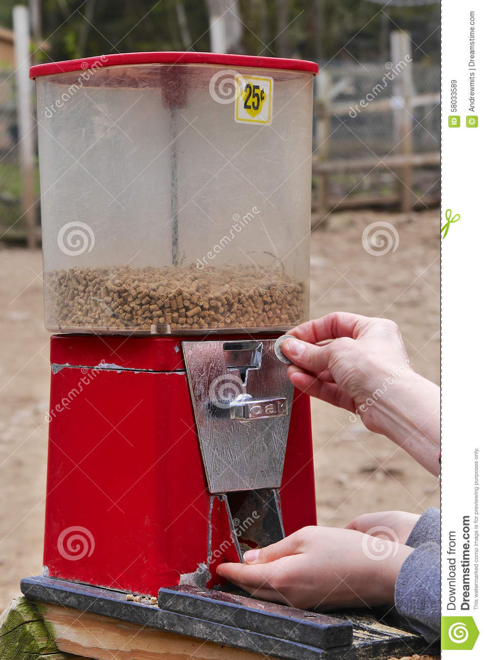 Petting Animals Food Dispenser Stock Image Image Of Dispenser Operating 58033589