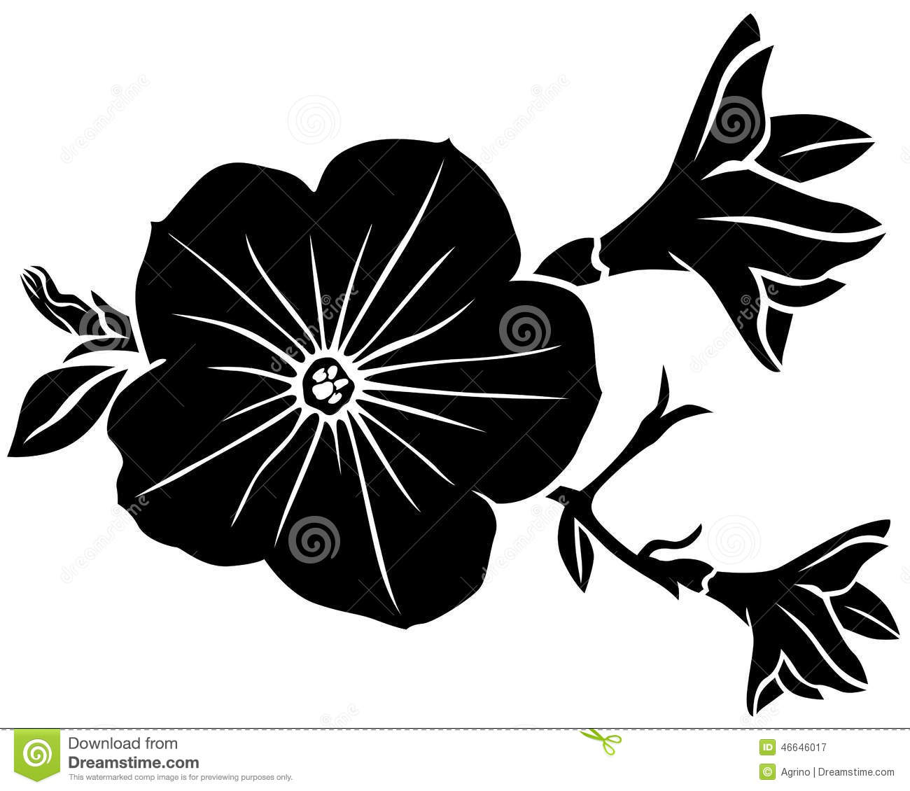 Vector Illustrations Of Silhouette Beautiful Petunia Flower
