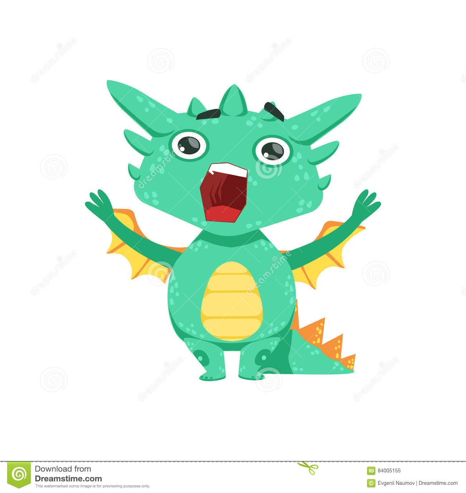 Peu d illustration d Emoji de caractère de Dragon Shouting And Screaming Cartoon de bébé de style d Anime