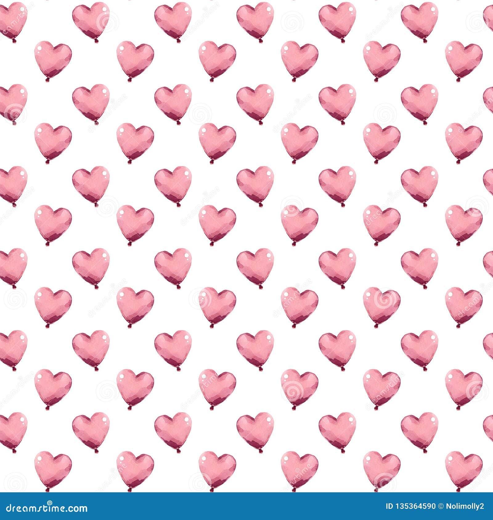 Peu de ballons de coeurs de rose d aquarelle