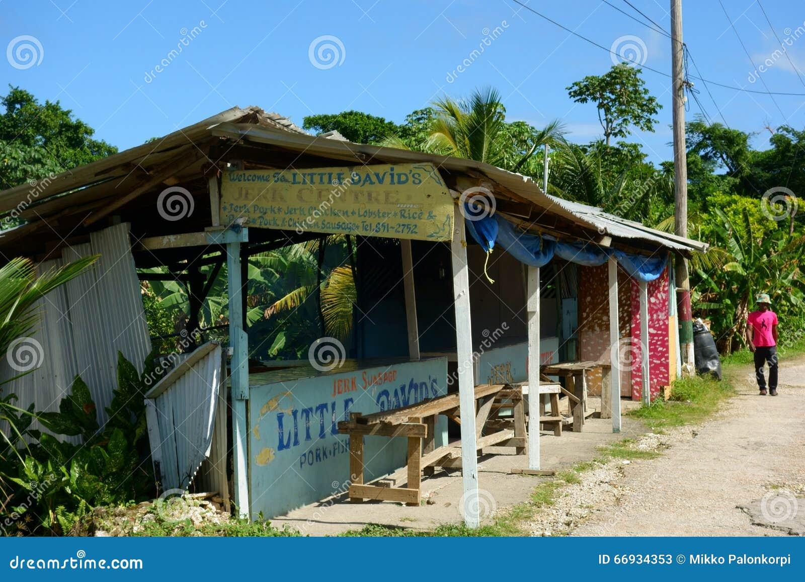 Peu de centre de secousse de David's dans la baie de Boston, Jamaïque