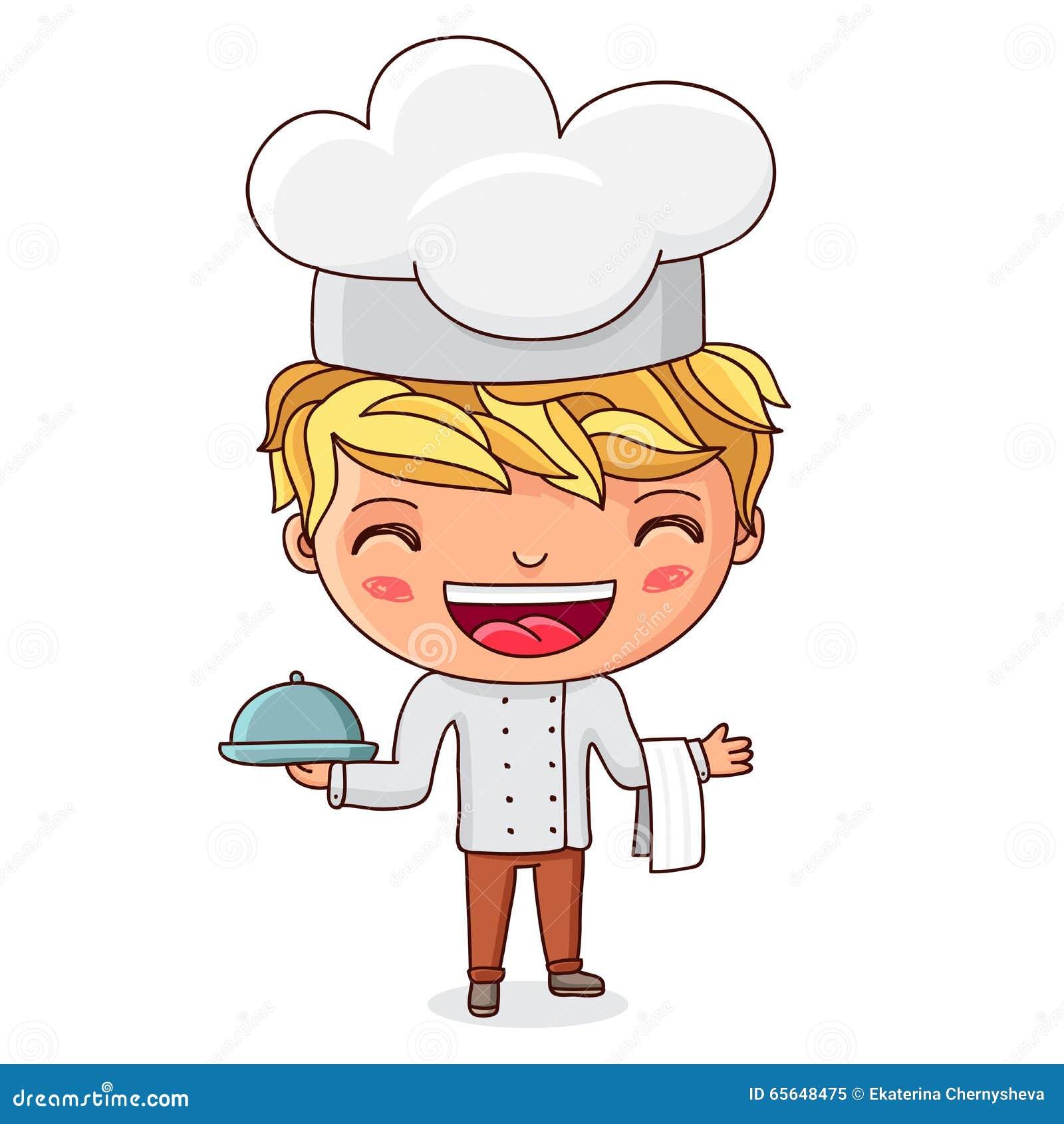 Peu de cuisinier avec le plat à disposition