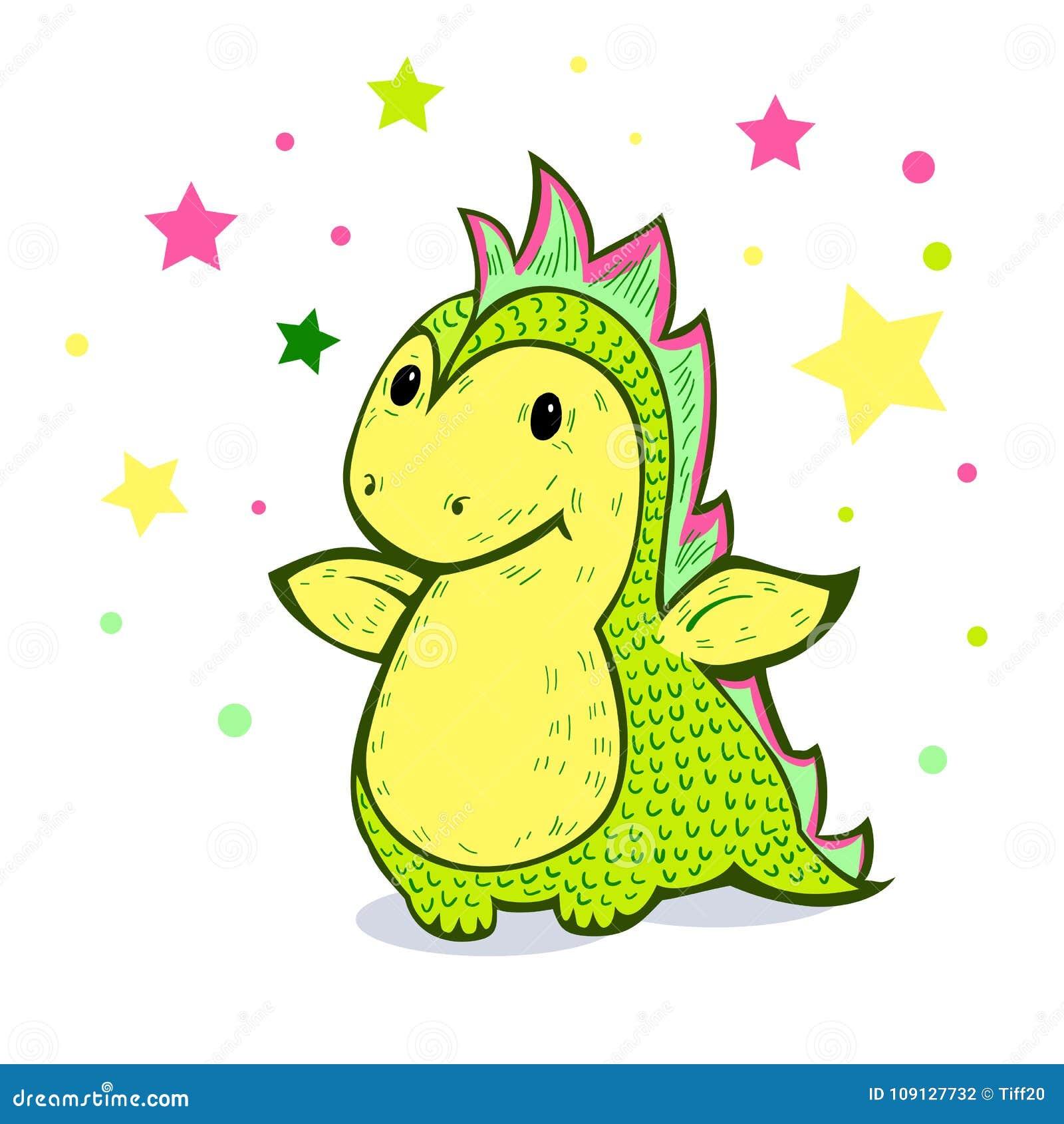 Peu de dragon de bande dessinée de couleur verte
