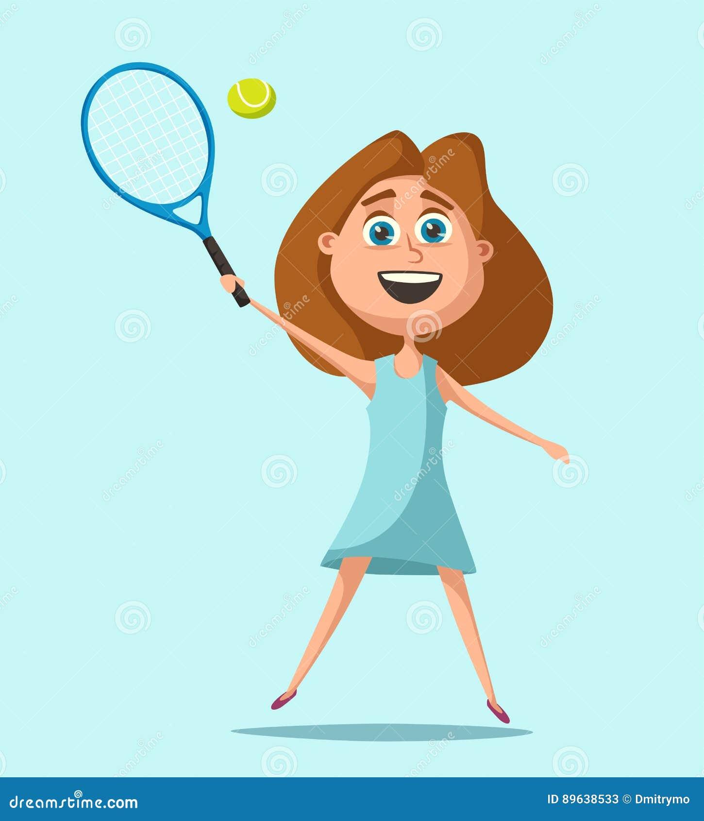 Peu de joueur de tennis Illustration de vecteur de dessin animé