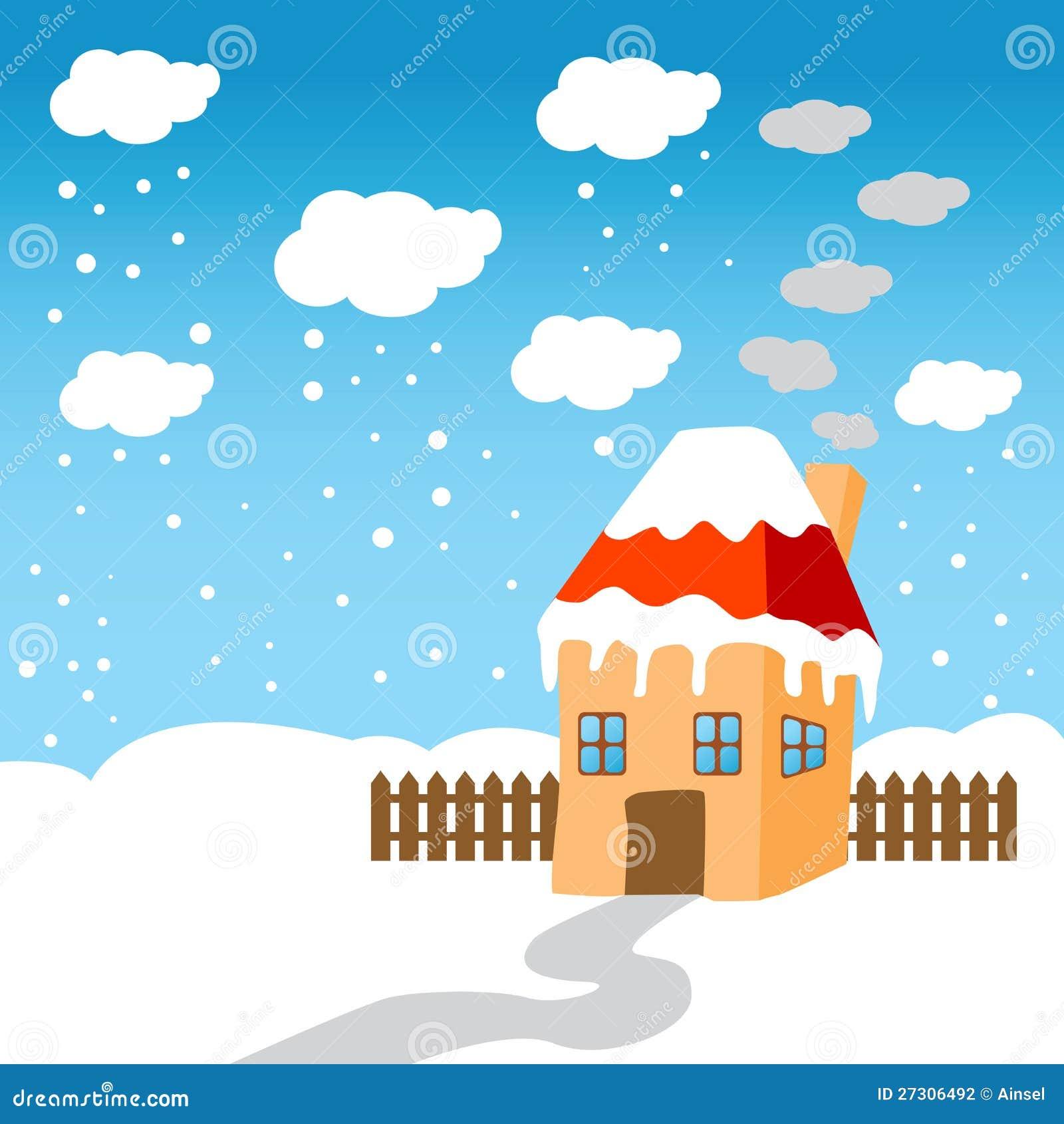 Peu de maison dans la neige photographie stock image for Odeurs d egouts dans la maison