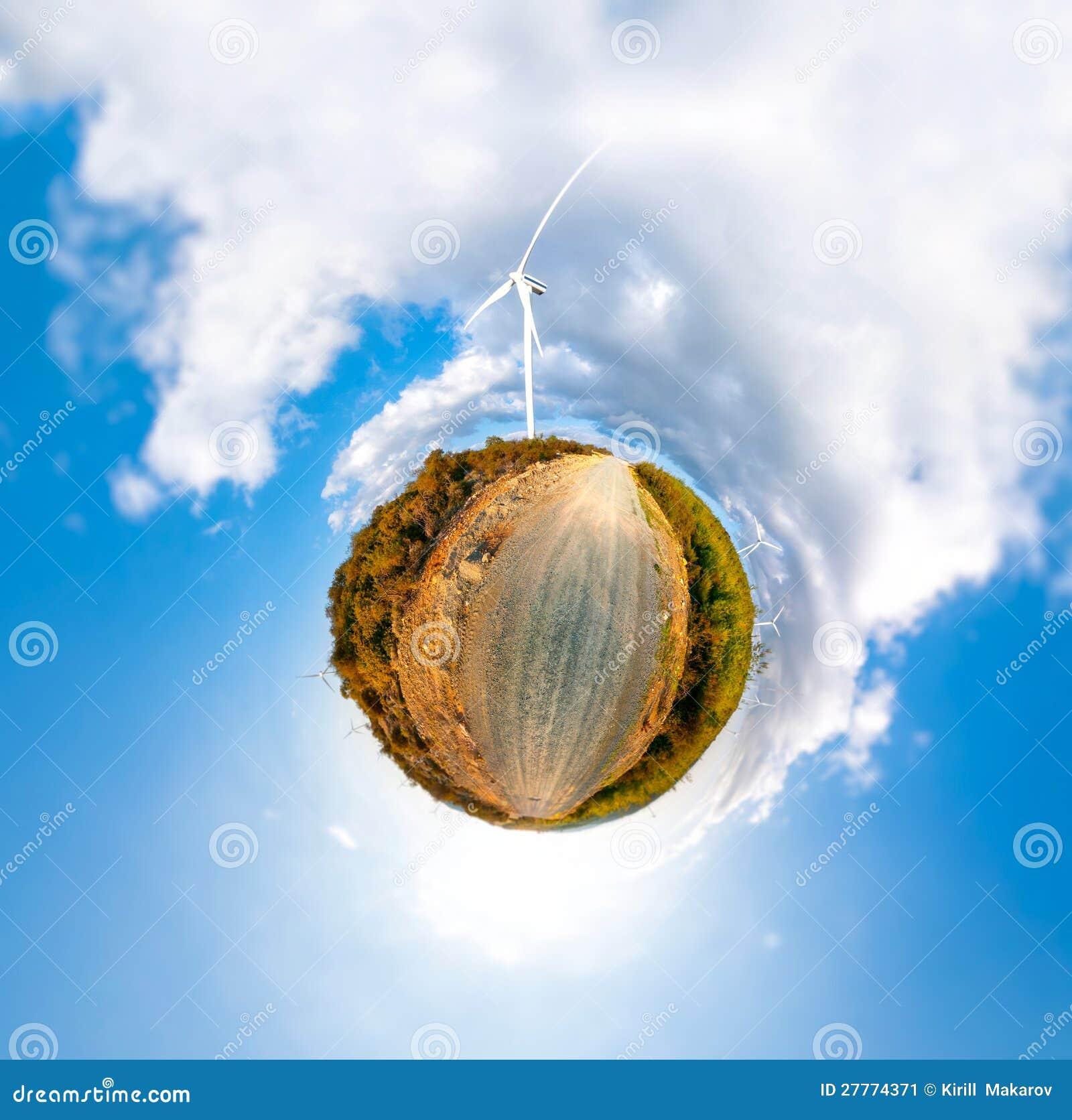 Peu de planète avec des turbines de vent