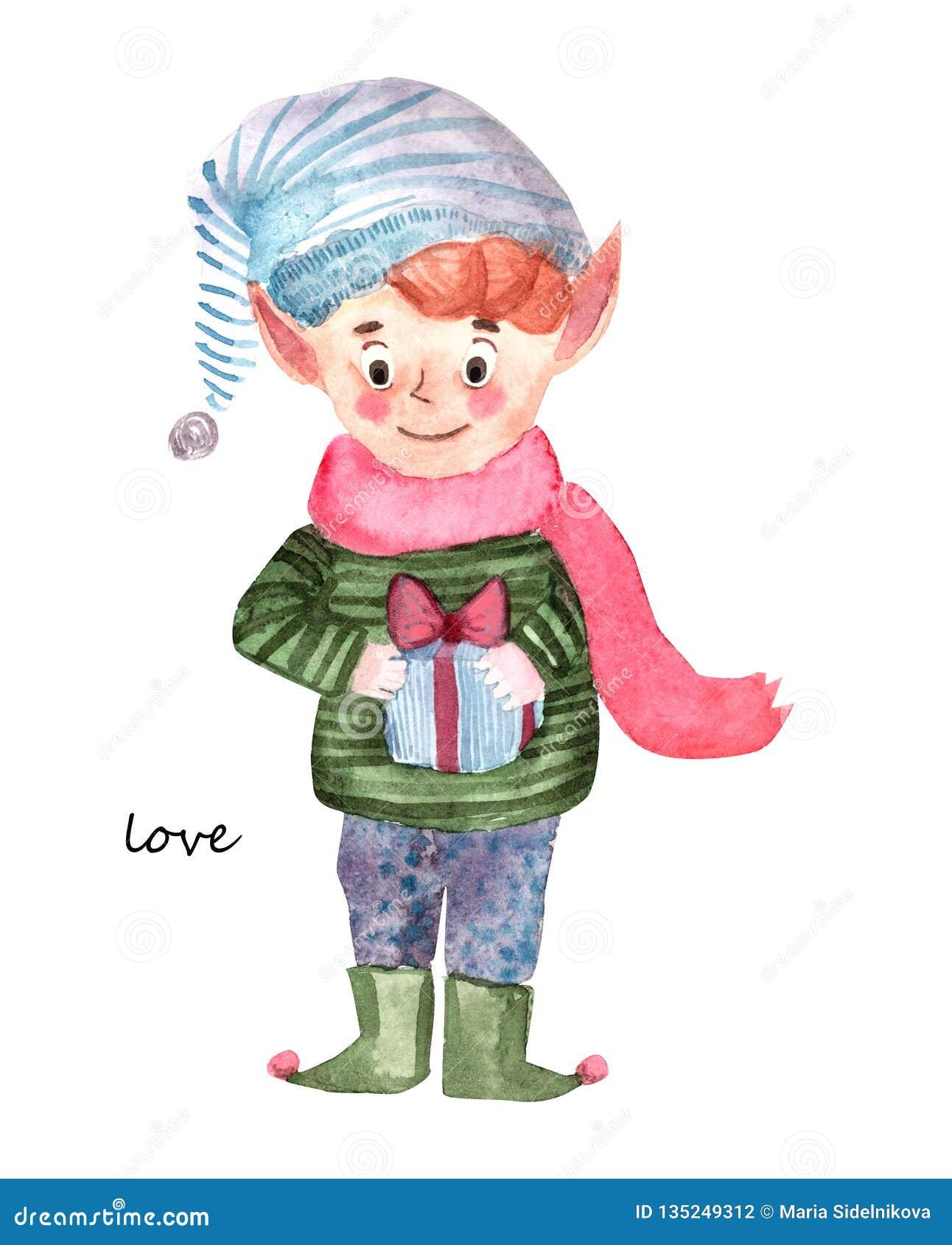 Peu elfe avec le présent de cadeau