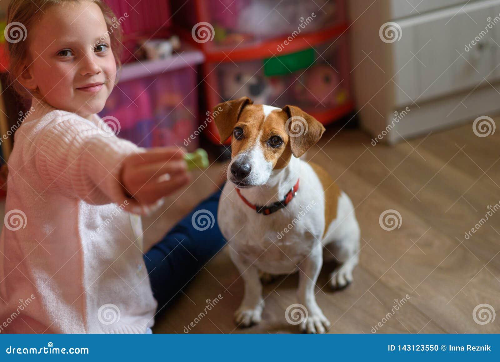 Peu fille avec le chien à la maison dans la salle de jeux