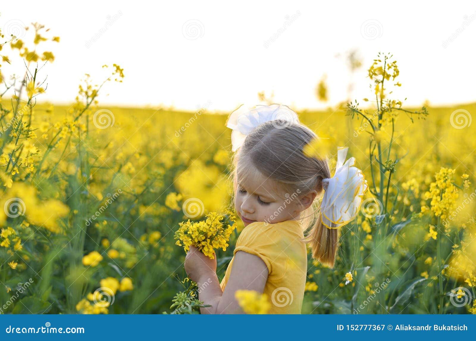Peu fille romantique dans un domaine avec les fleurs jaunes