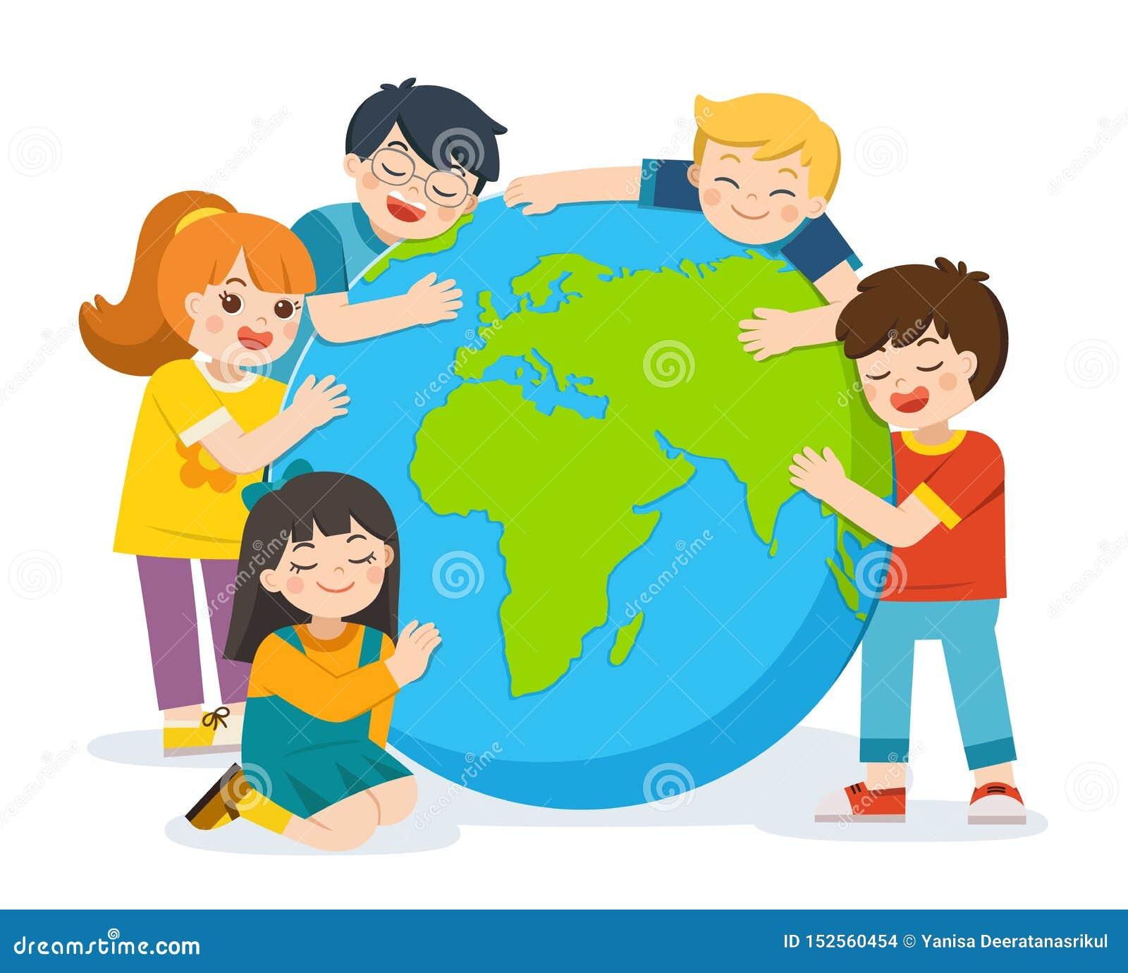 Peu garçon et fille mignons étreignent la terre de planète au-dessus d un fond blanc