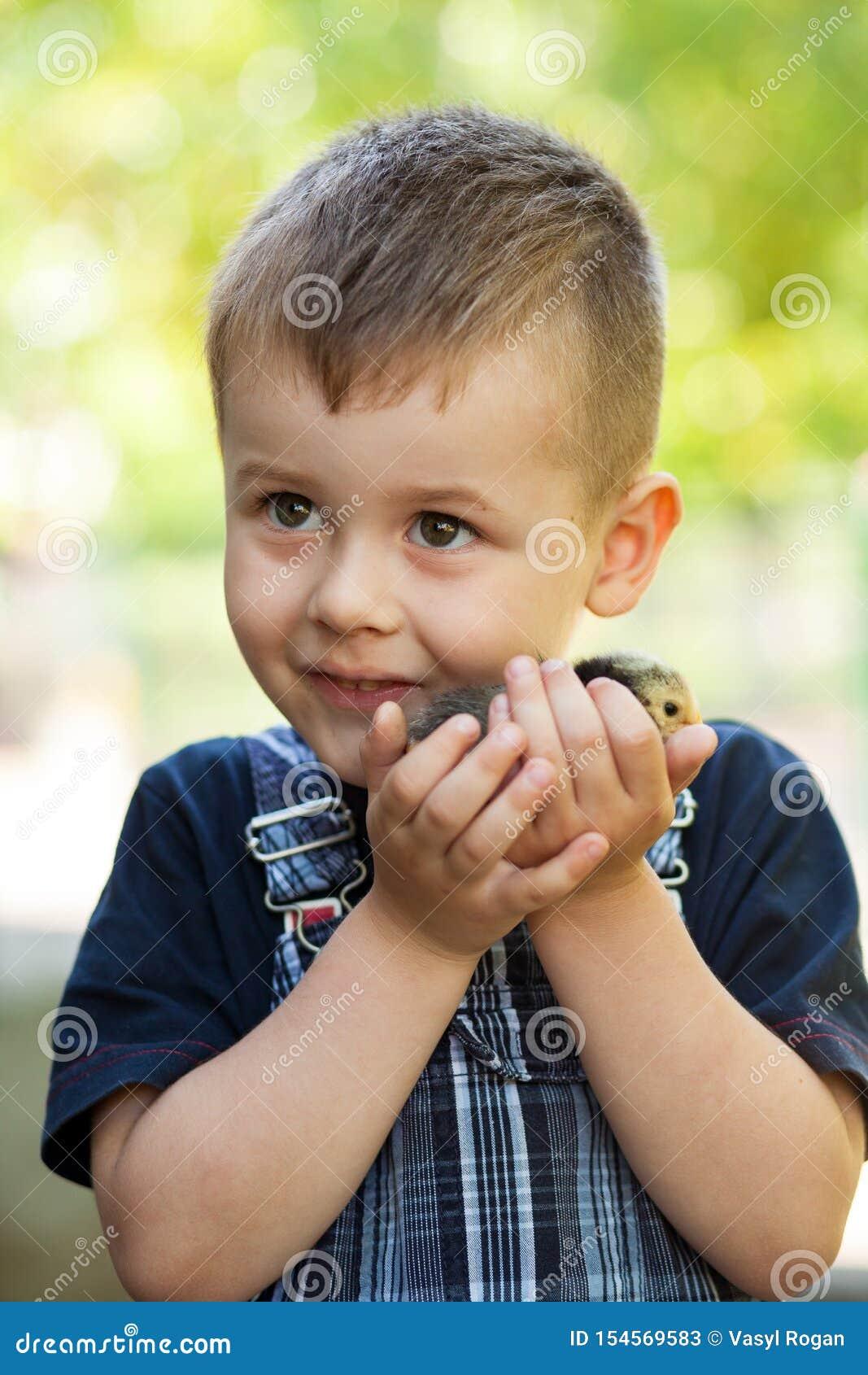 Peu garçon tenant un poussin de bébé à une ferme Concept de la vie heureuse