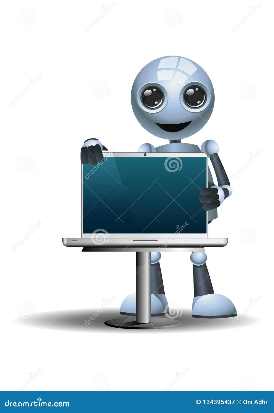 Peu ordinateur portable de participation de vendeur d homme d affaires de robot