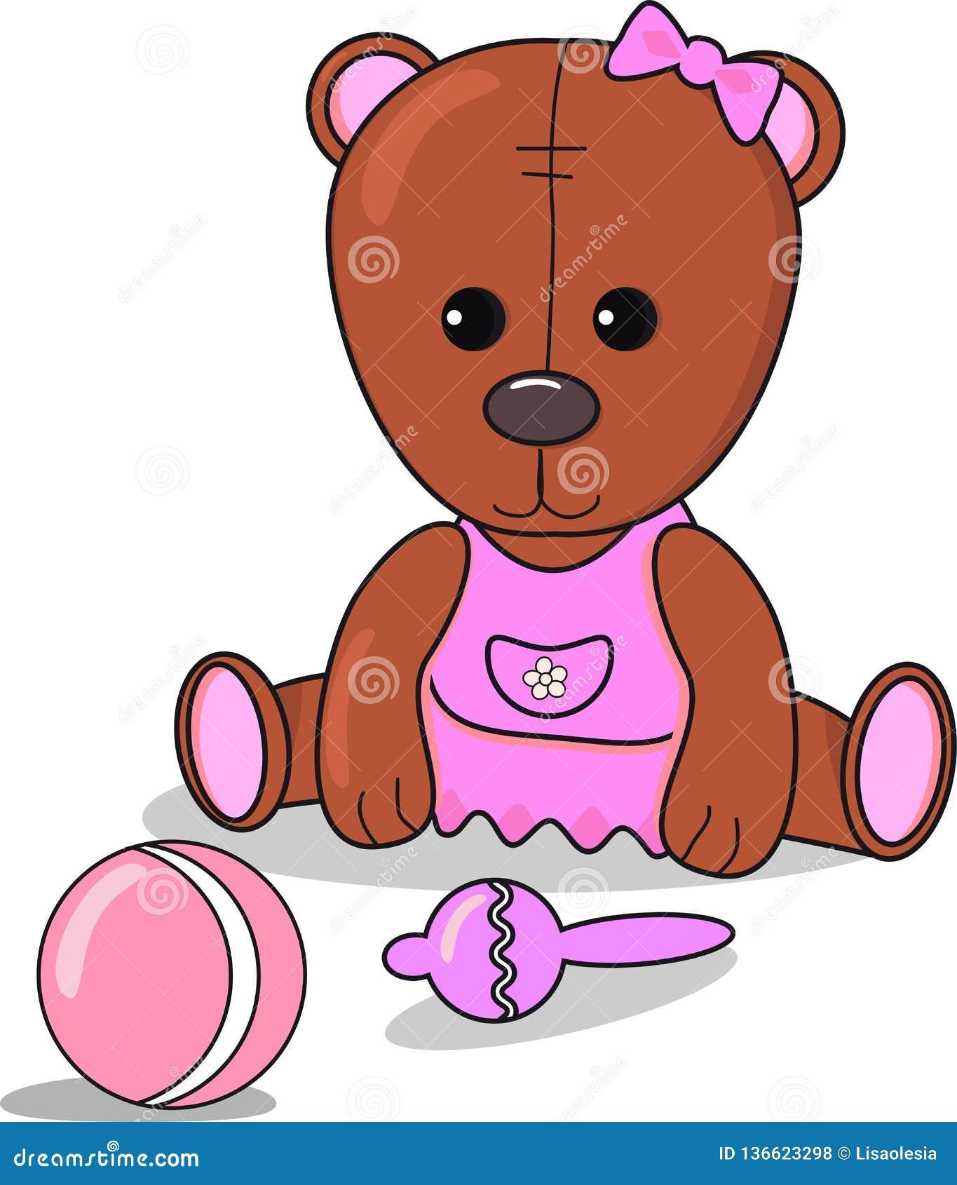 Peu ours de nounours avec le sac à haricots, boule, annonce de bébé métrique pour la fille brun de carte et couleur rose Décor de