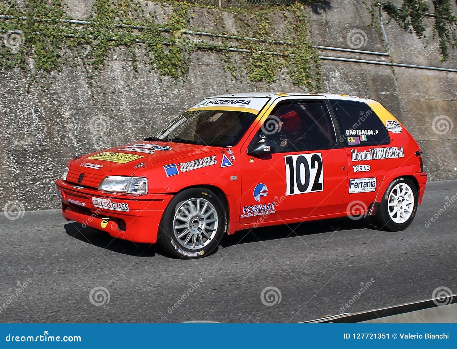 Peugeot 106 Rallye Race Car During The Race Editorial Photo Image Of Piloting Single 127721351