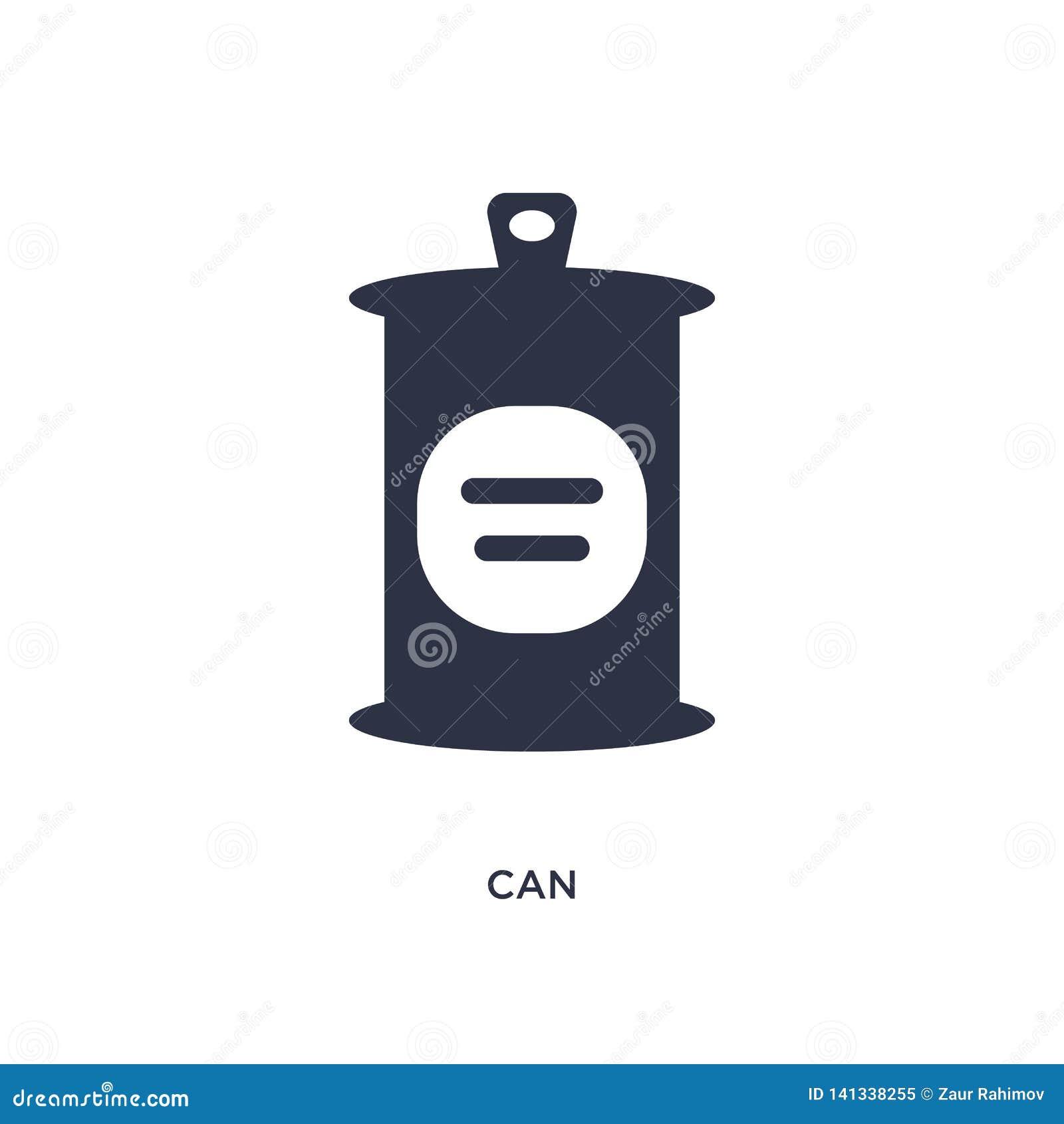 Peut l icône sur le fond blanc Illustration simple d élément de concept d aliments de préparation rapide