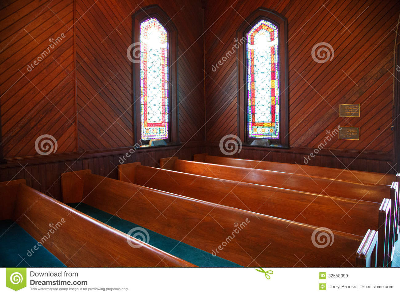 Pews And Stained Glass In Church Stock Image Image Of