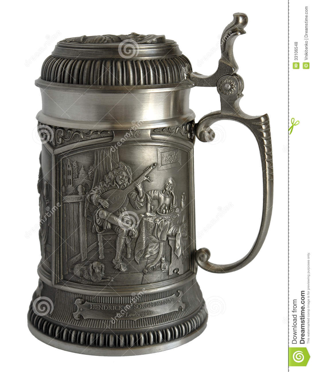 pewter beer tankard with bas relief stock photo image of gray