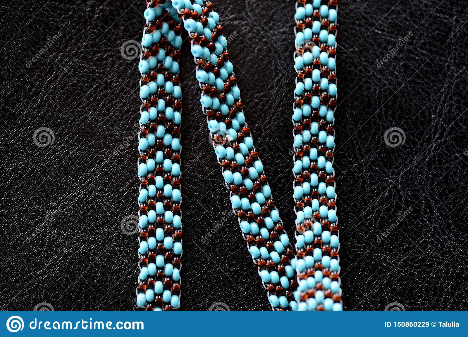 Peyote Choker Necklace Made Of Seed Beads On A Dark Background Stock Image Image Of Collar Handicraft 150860229