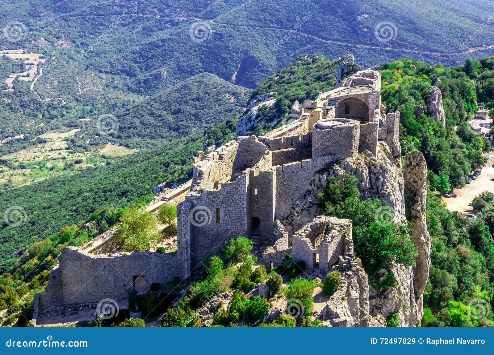 Peyrepertuse cathar castle stock image. Image of mountain   20