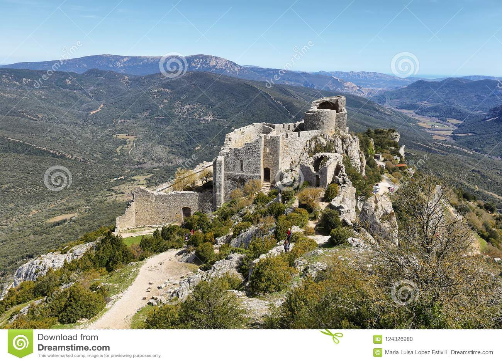Peyrepertuse Cathar Castle, France Stock Photo   Image of hill ...