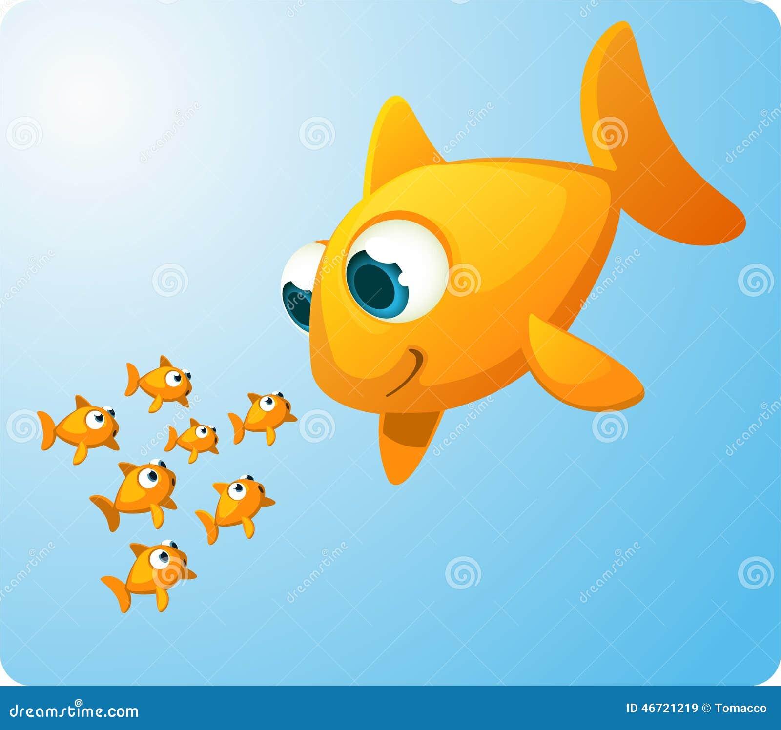 Pez De Colores Gigante Que Mira Pescados Del Bebé Stock de ...