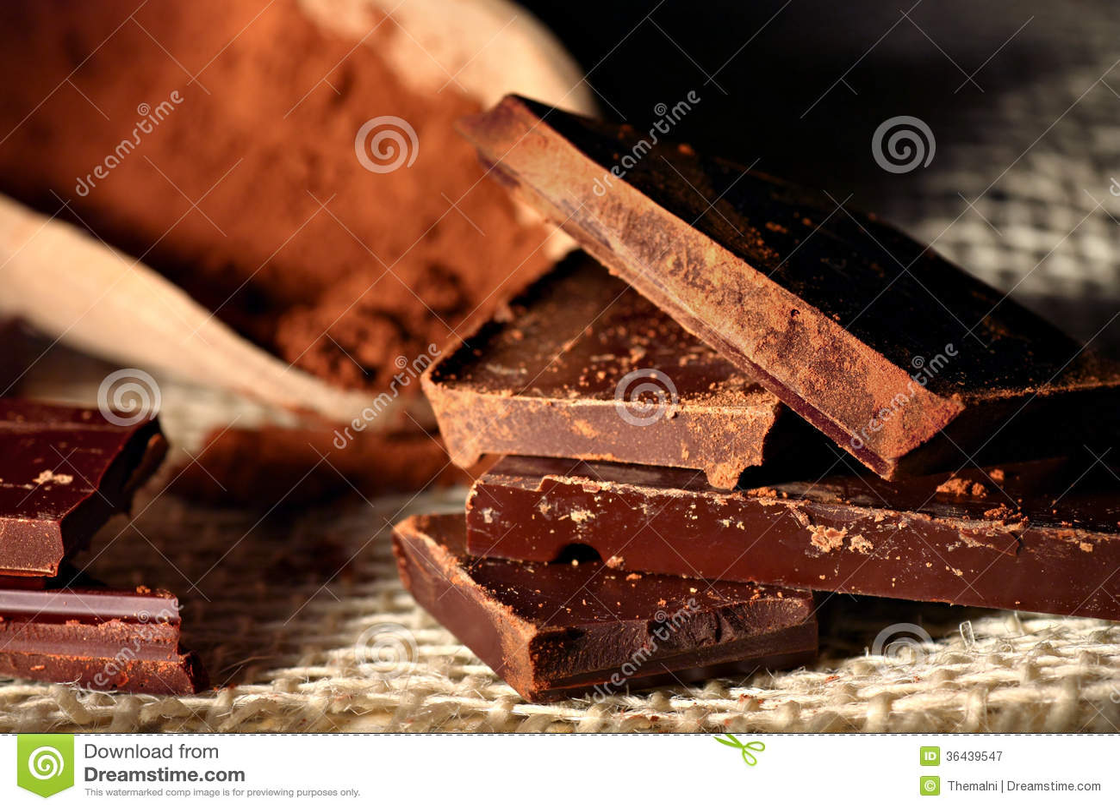 Pezzi del cioccolato fondente