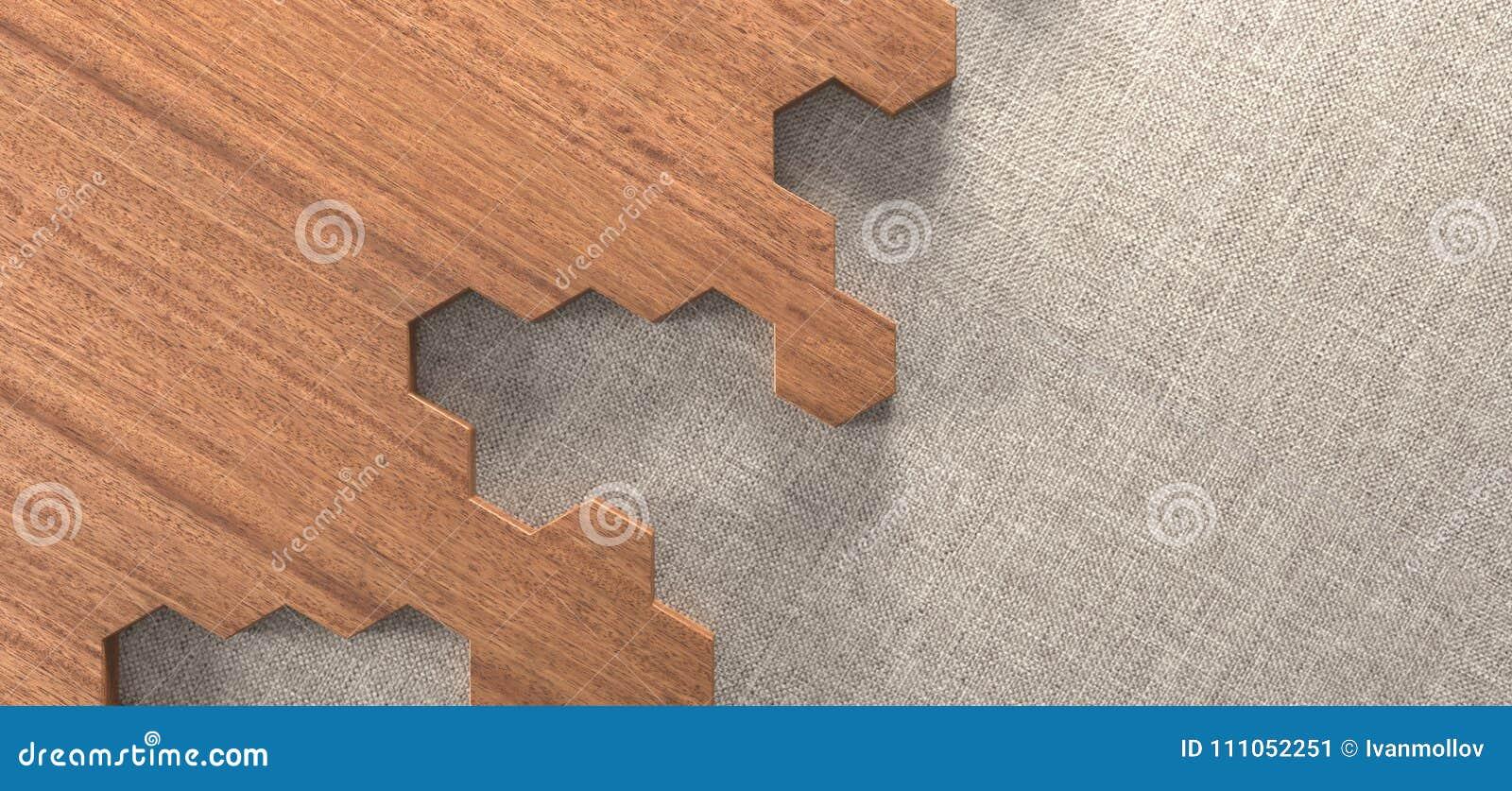 Pezzi di legno esagonali realistici del pavimento di parquet di