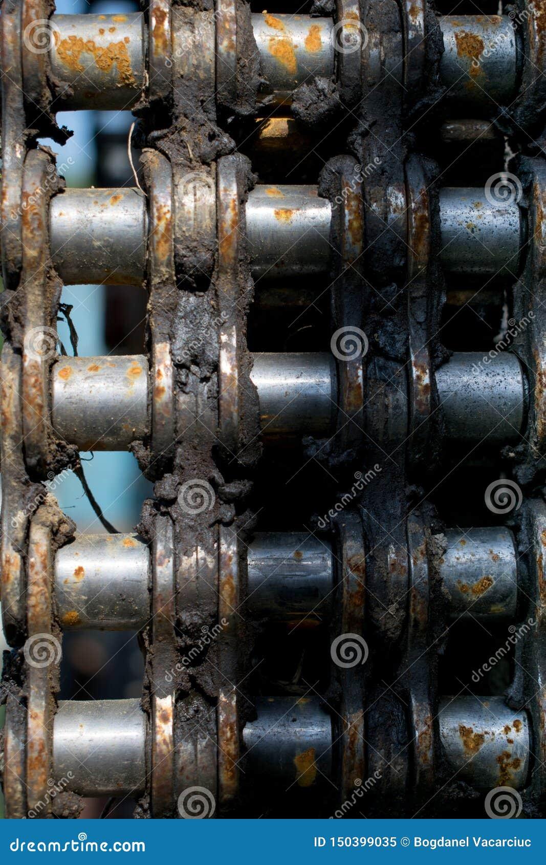 Pezzo arrugginito di catena del motore da una vecchia macchina