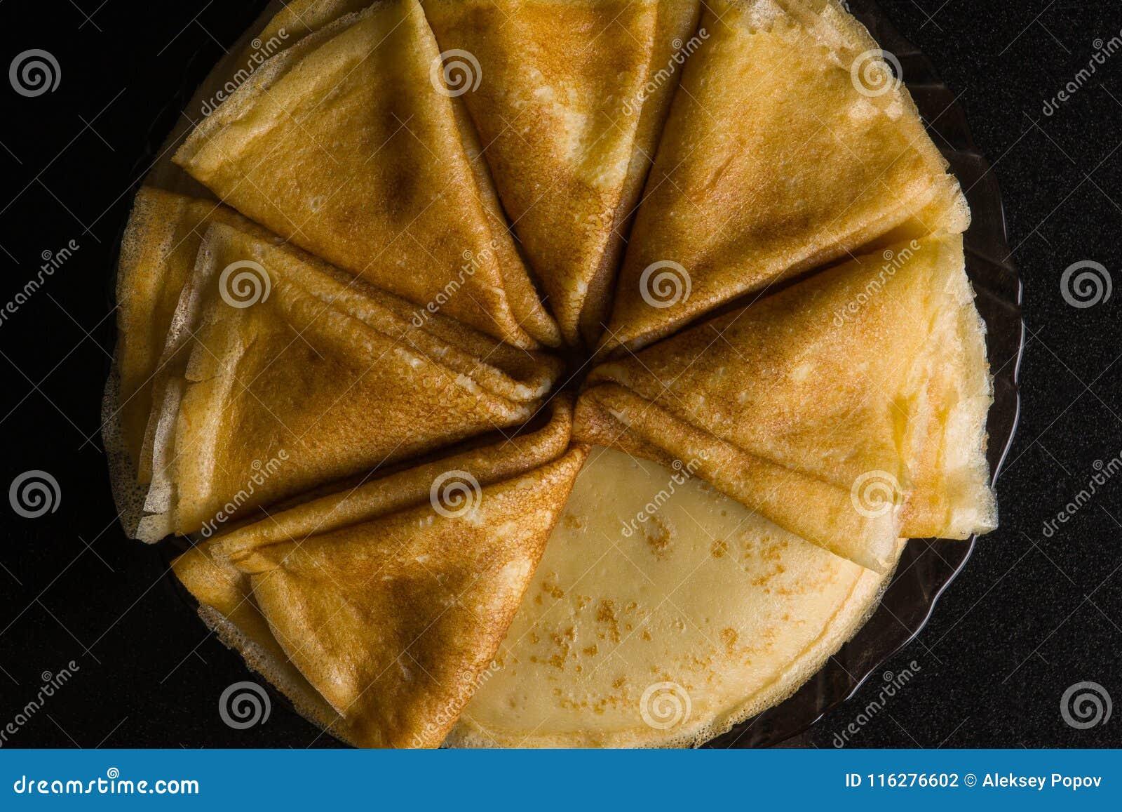 Pfannkuchen Dünne Pfannkuchen Russisches bliny maslenitsa, Blini, Frühstück, Krepp, Honig, Gebäck, Stapel, Pfannkuchen, Russe, Hi