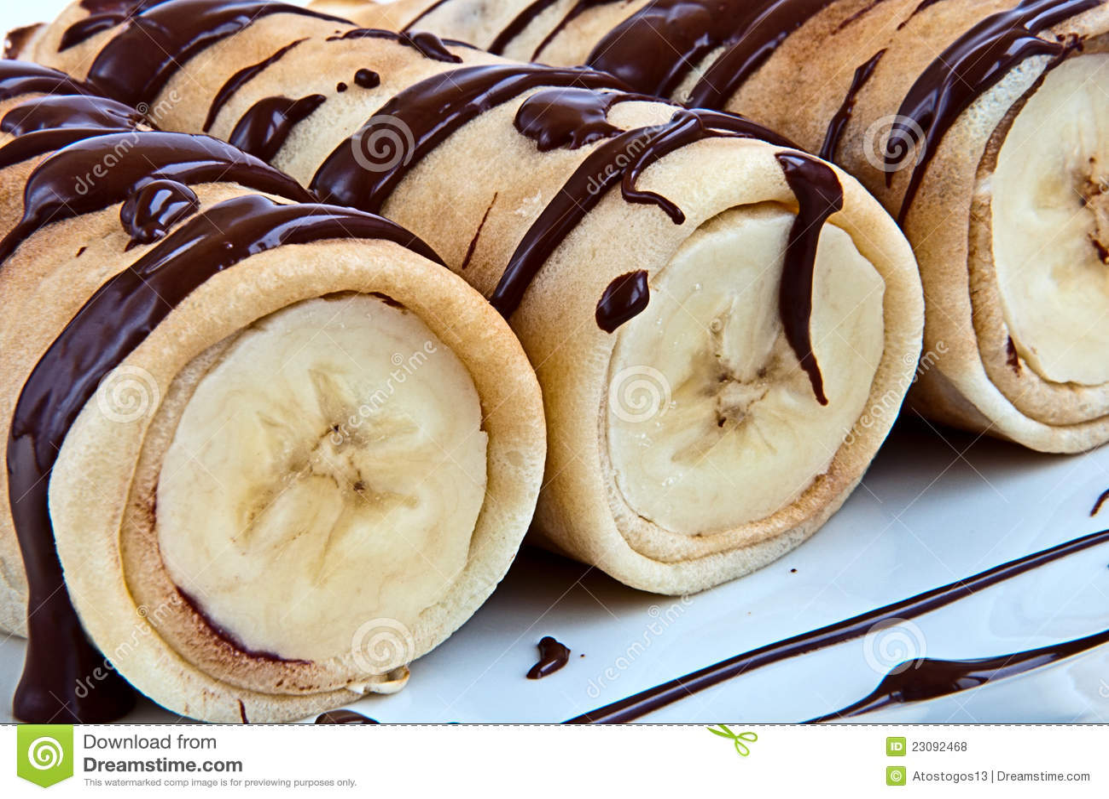 pfannkuchen mit banane und schokolade stockfoto bild. Black Bedroom Furniture Sets. Home Design Ideas