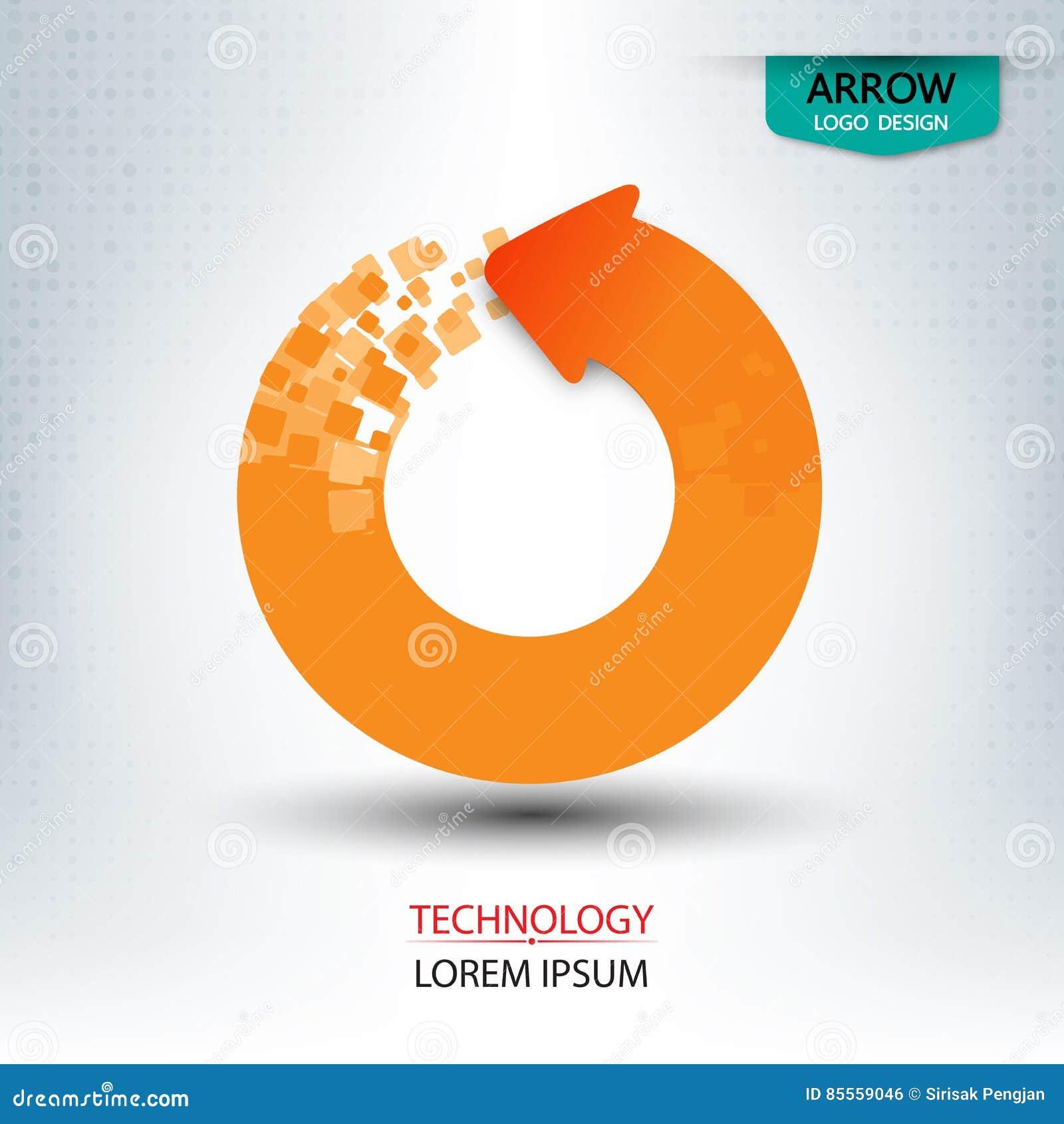 Pfeil digital und runde Form des Logodesigns