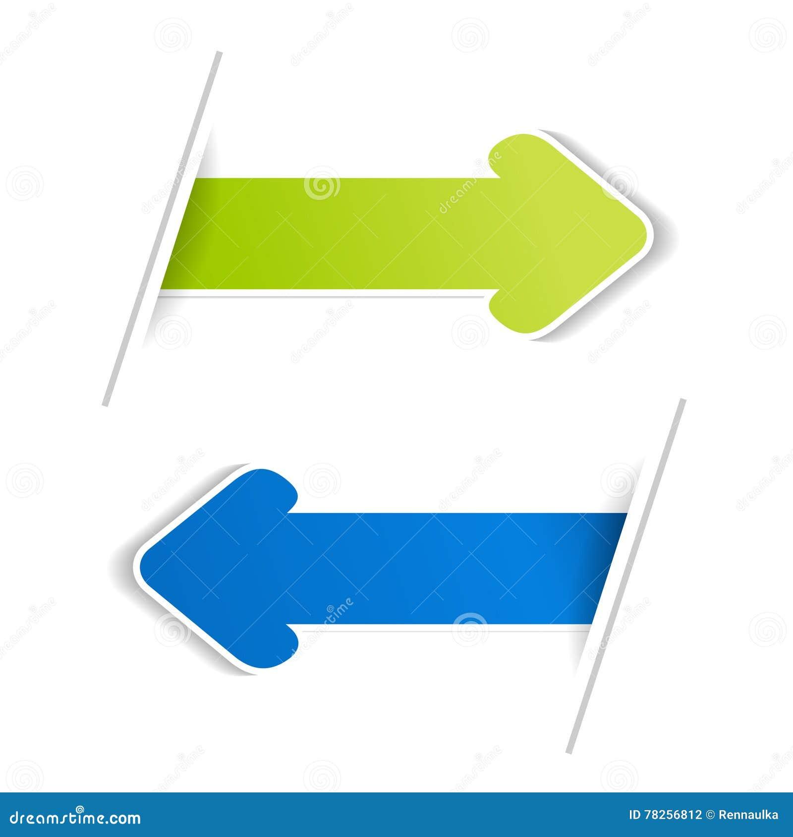 Pfeil-Fahnen Grüner und blauer Pfeil auf dem weißen bacground