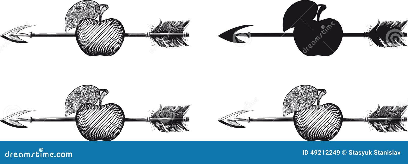 Pfeil im Apfel vektor abbildung. Illustration von punkt - 49212249