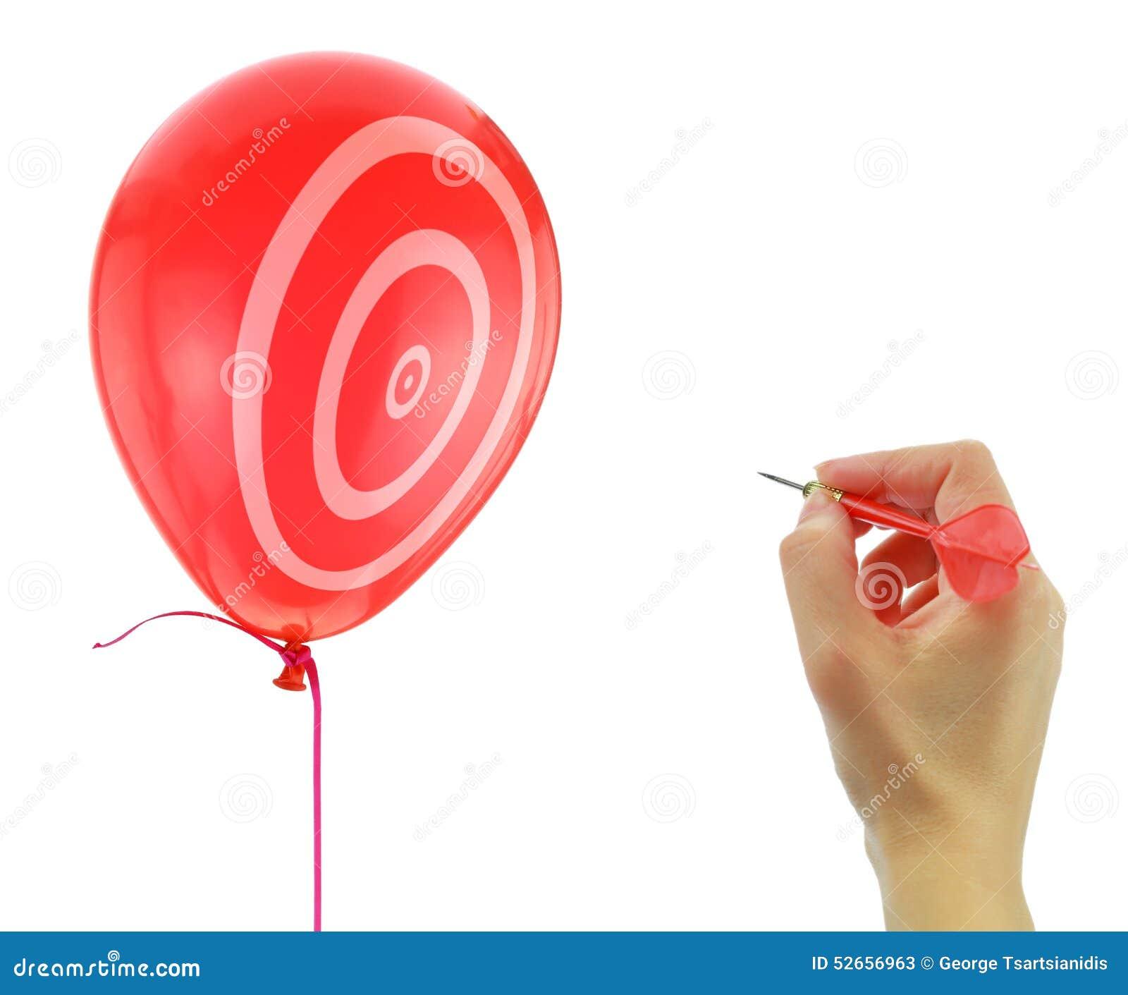 Pfeil ungefähr, zum eines Ballons zu knallen