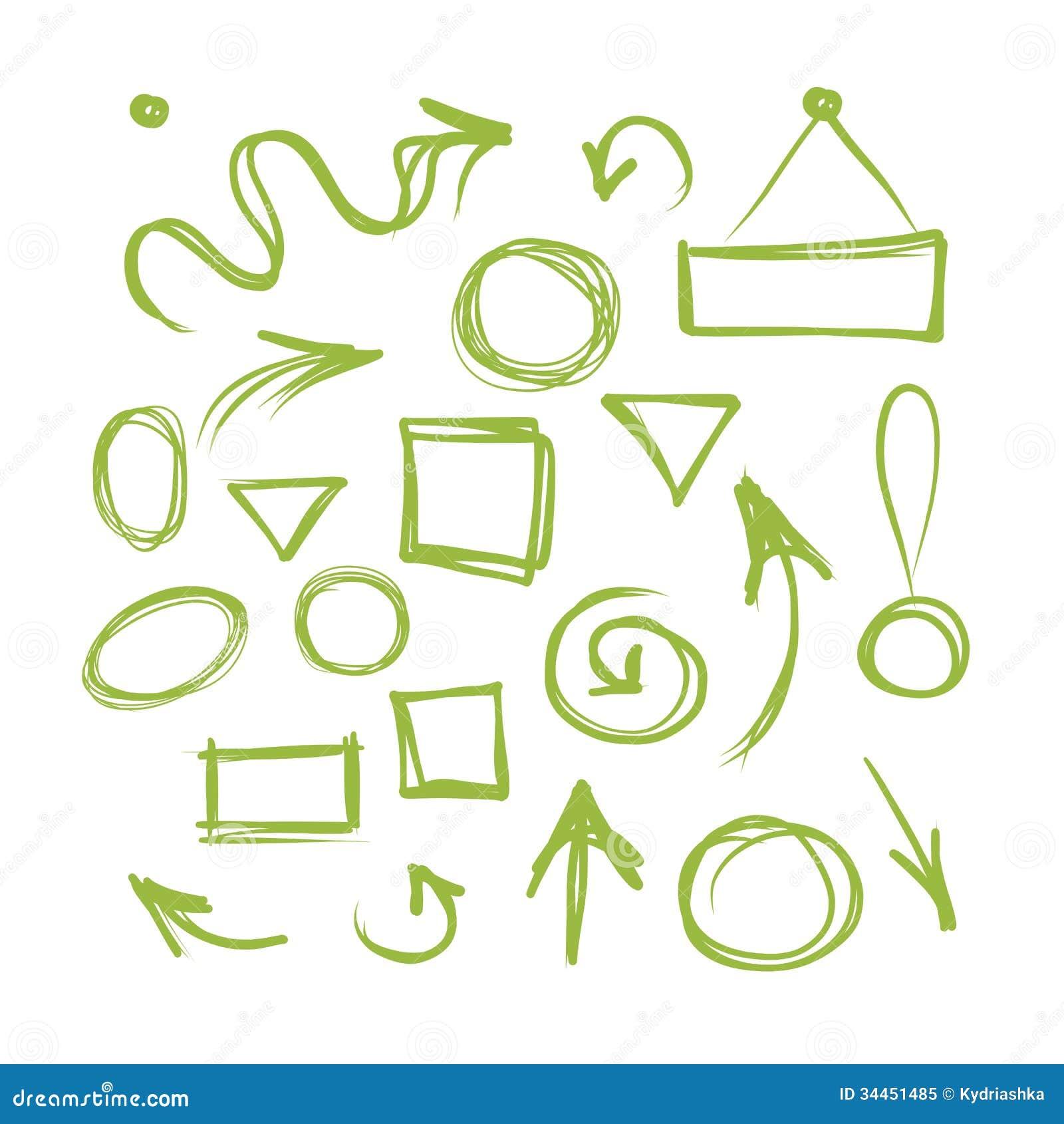 Pfeile Und Rahmen, Skizze Für Ihren Entwurf Vektor Abbildung ...