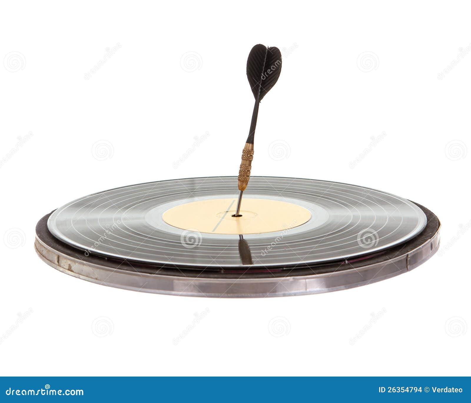 Pfeilpfeil stieß in einem Vinylsatz