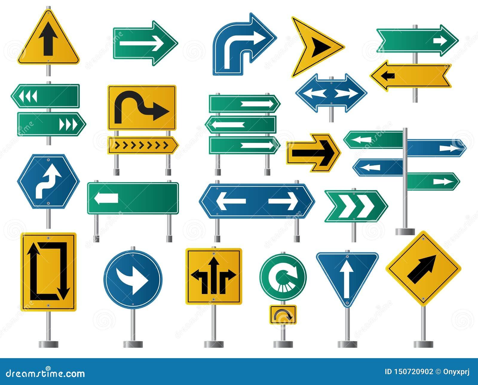 Pfeilrichtung Verkehrsschilder für Straßen- oder Landstraßenverkehrsnavigations-Vektorbilder von Pfeilen