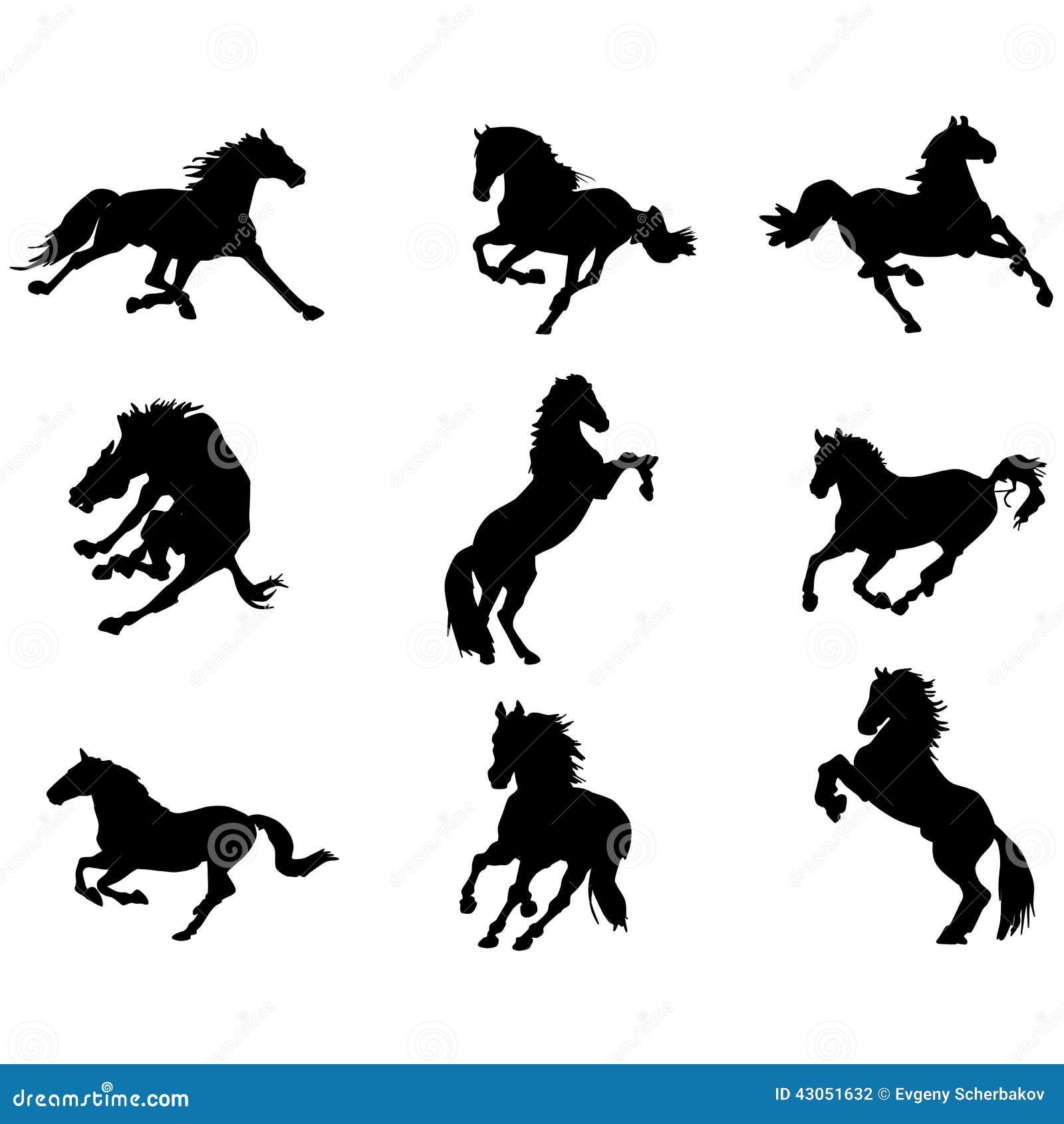 Pferd Silhouettiert Clipart 1 Vektor Abbildung Illustration Von