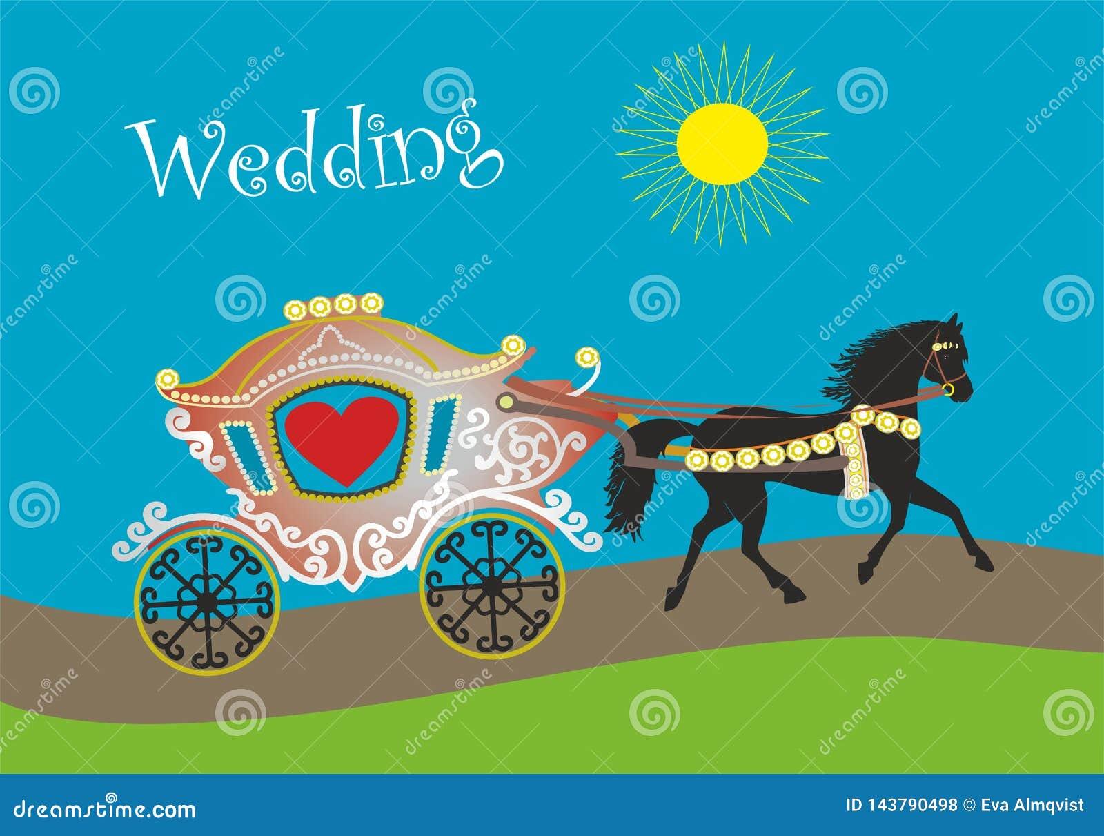 Pferd und Wagen für die Heirat oder die Flitterwochen