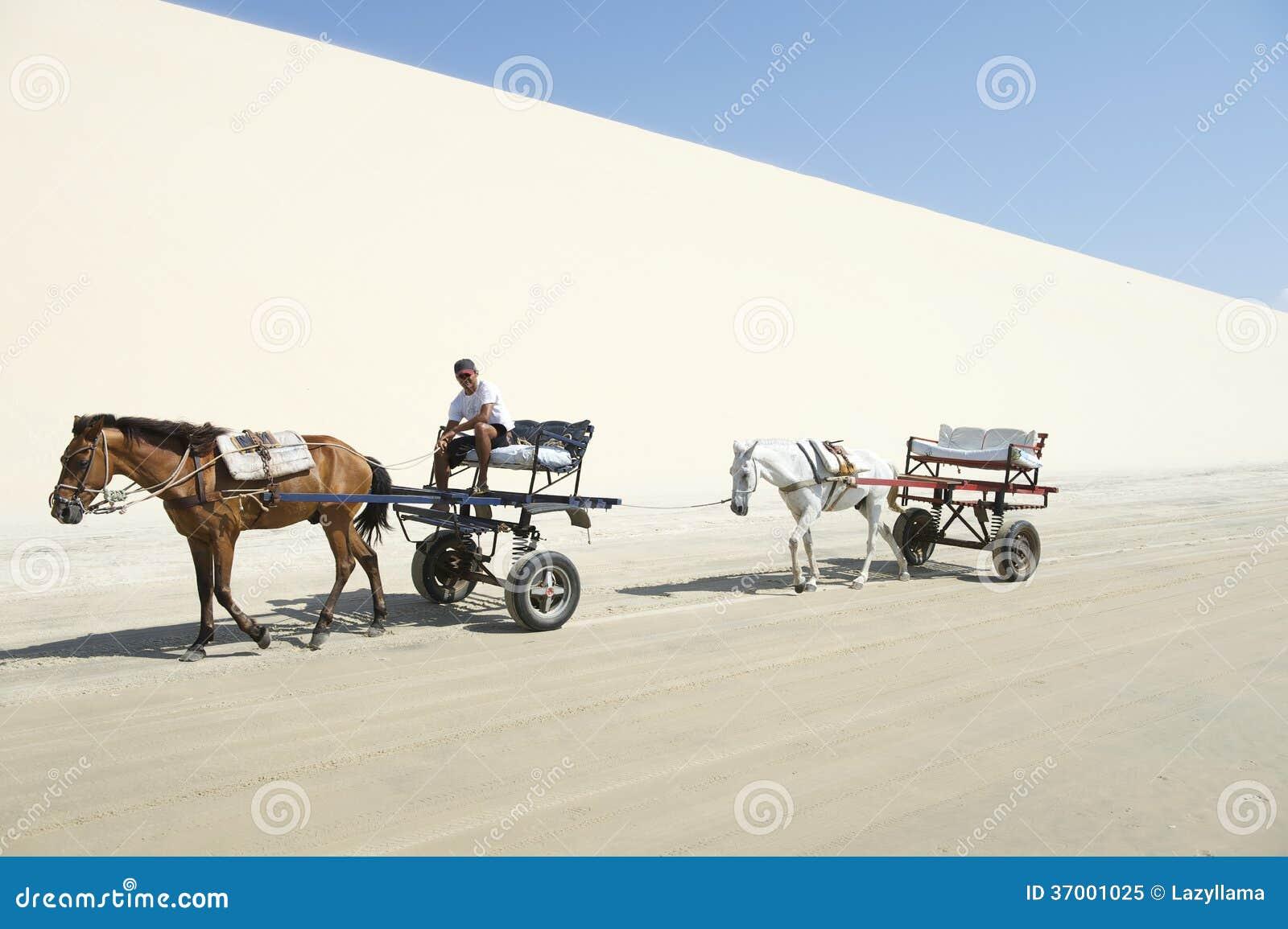 Pferde-und Warenkorb-Sanddüne Jericoacoara Brasilien