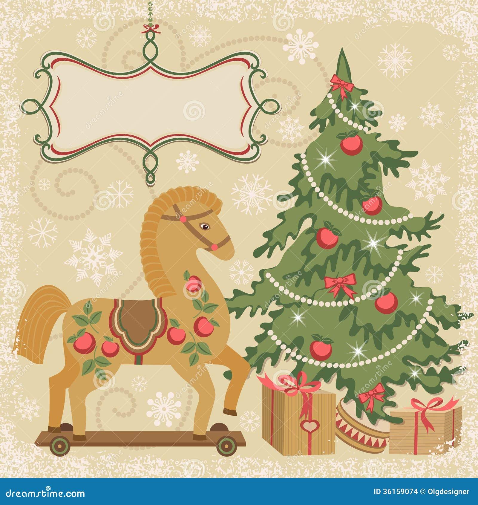 Pferde- Und Weihnachtsbaum Mit Geschenk Vektor Abbildung ...