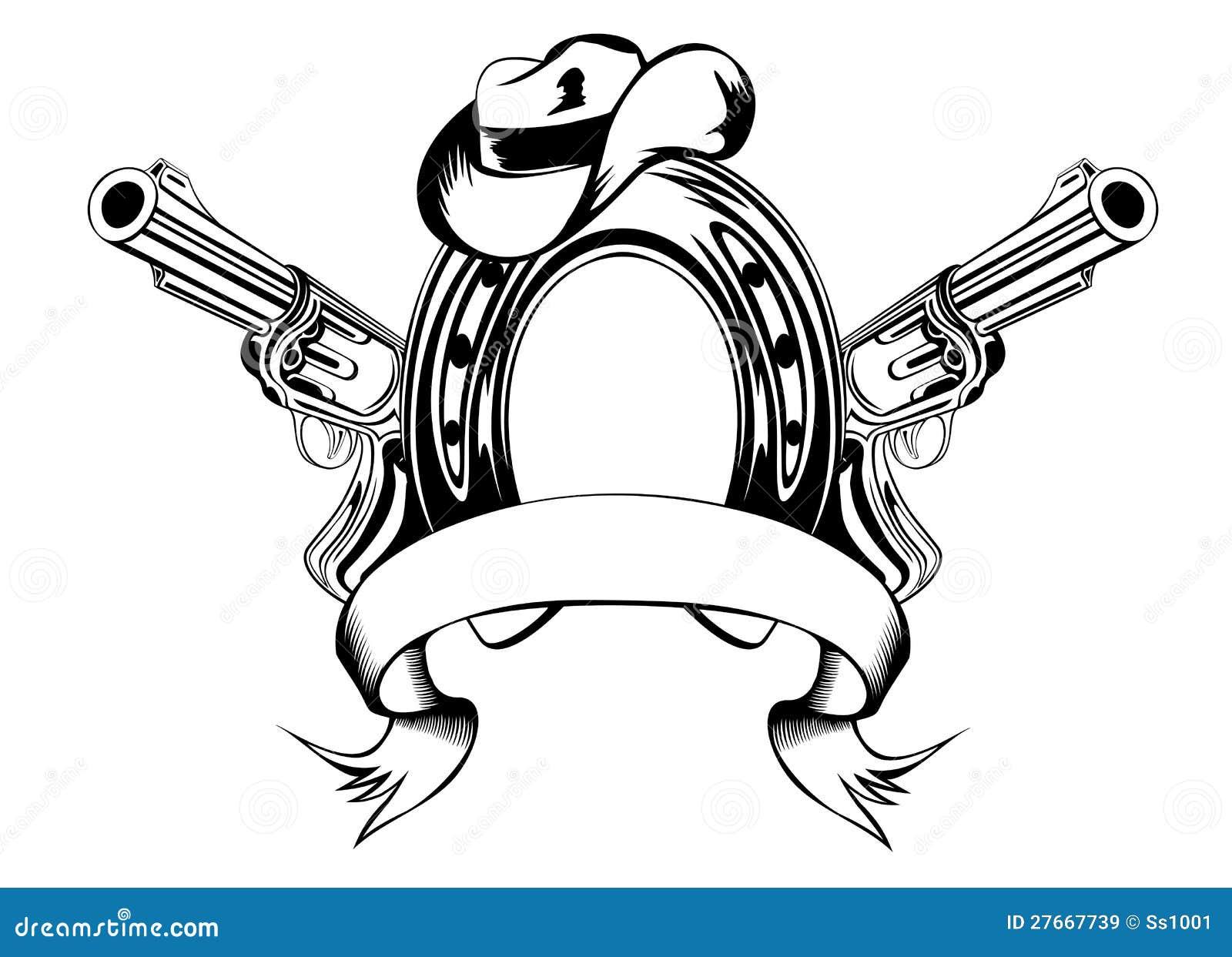 Pferdenschuh Und Cowboyhut Vektor Abbildung Illustration
