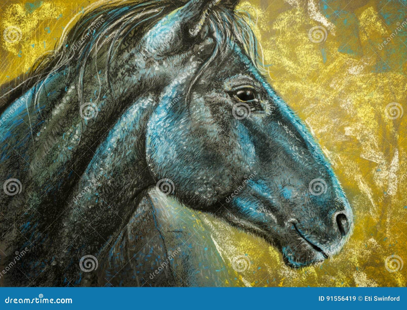 Pferdeportraitholzkohle und -PASTELLE